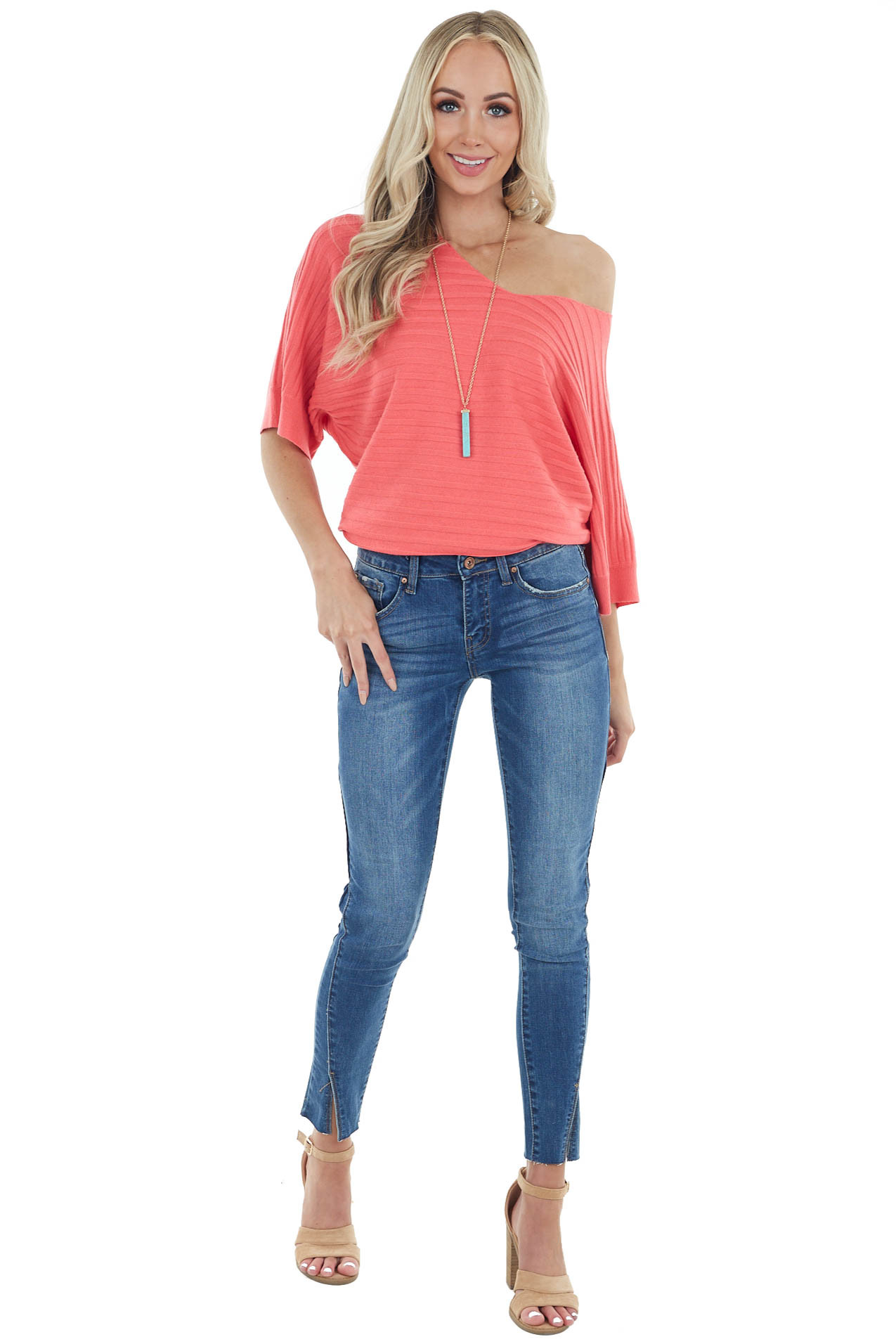 Dark Coral Wide Ribbed Knit Top with 3/4 Dolman Sleeves