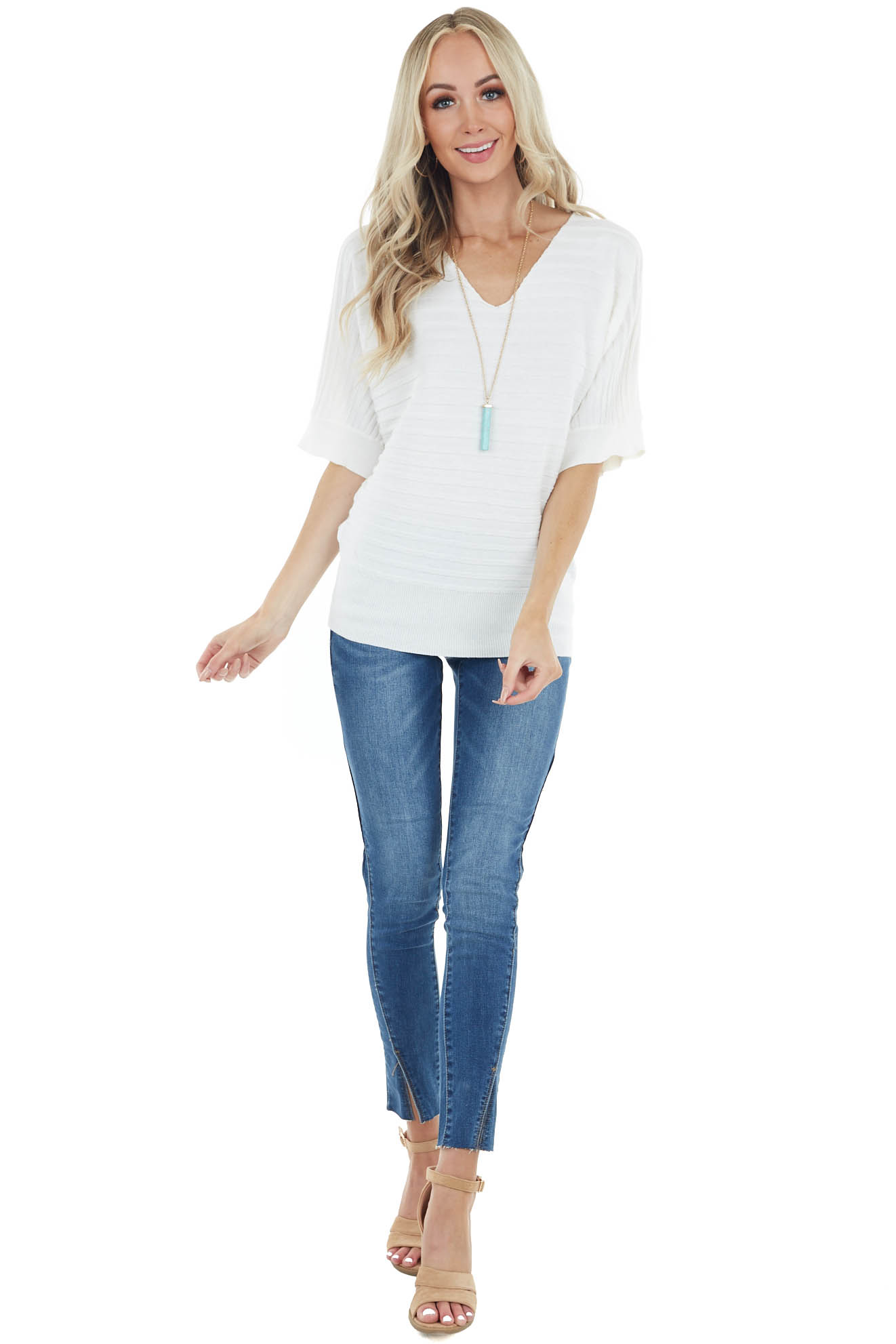 Cream Wide Ribbed Knit Top with 3/4 Dolman Sleeves