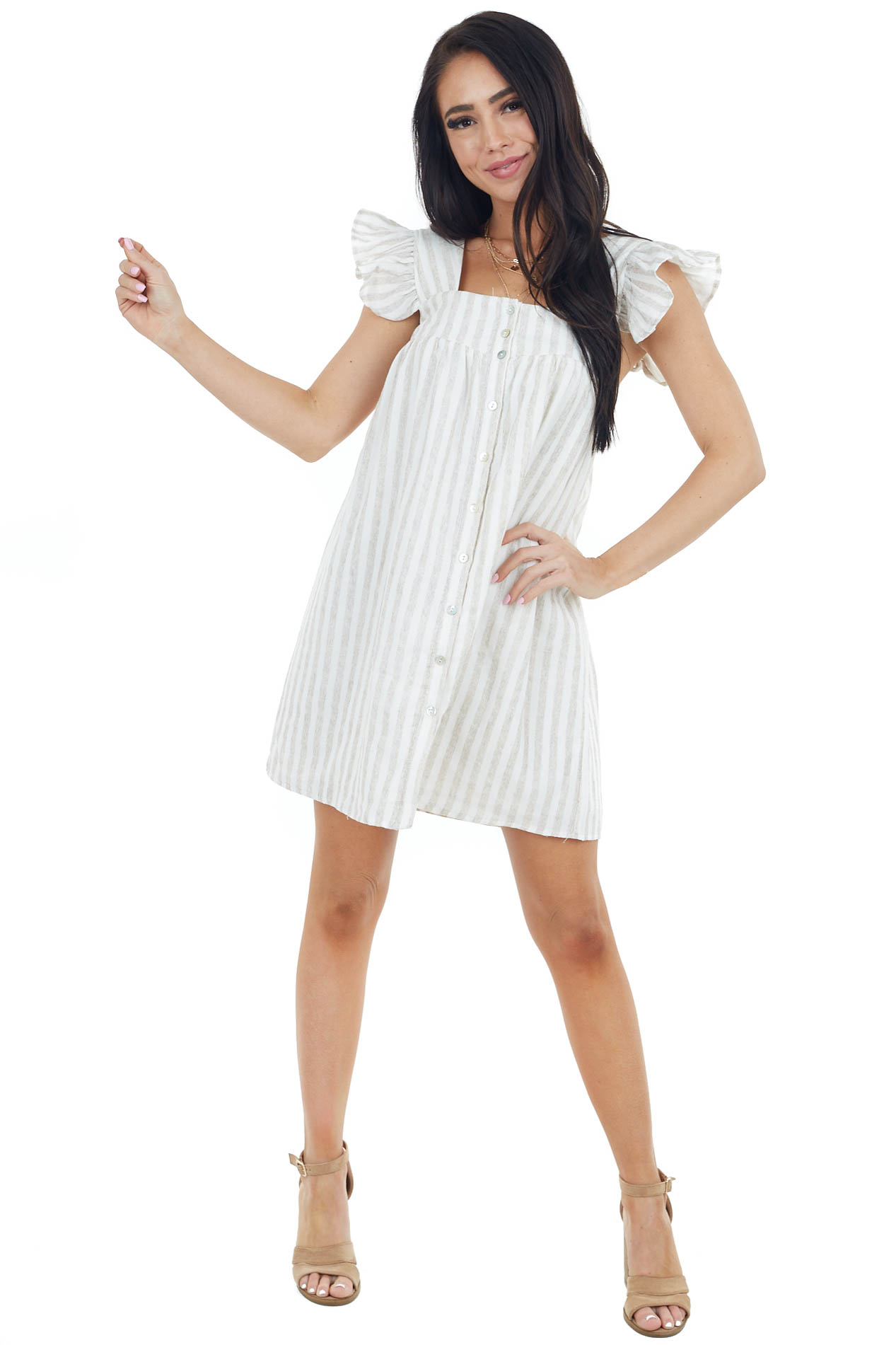 Oatmeal and Ivory Stripe Print Mini Dress with Ruffle Straps