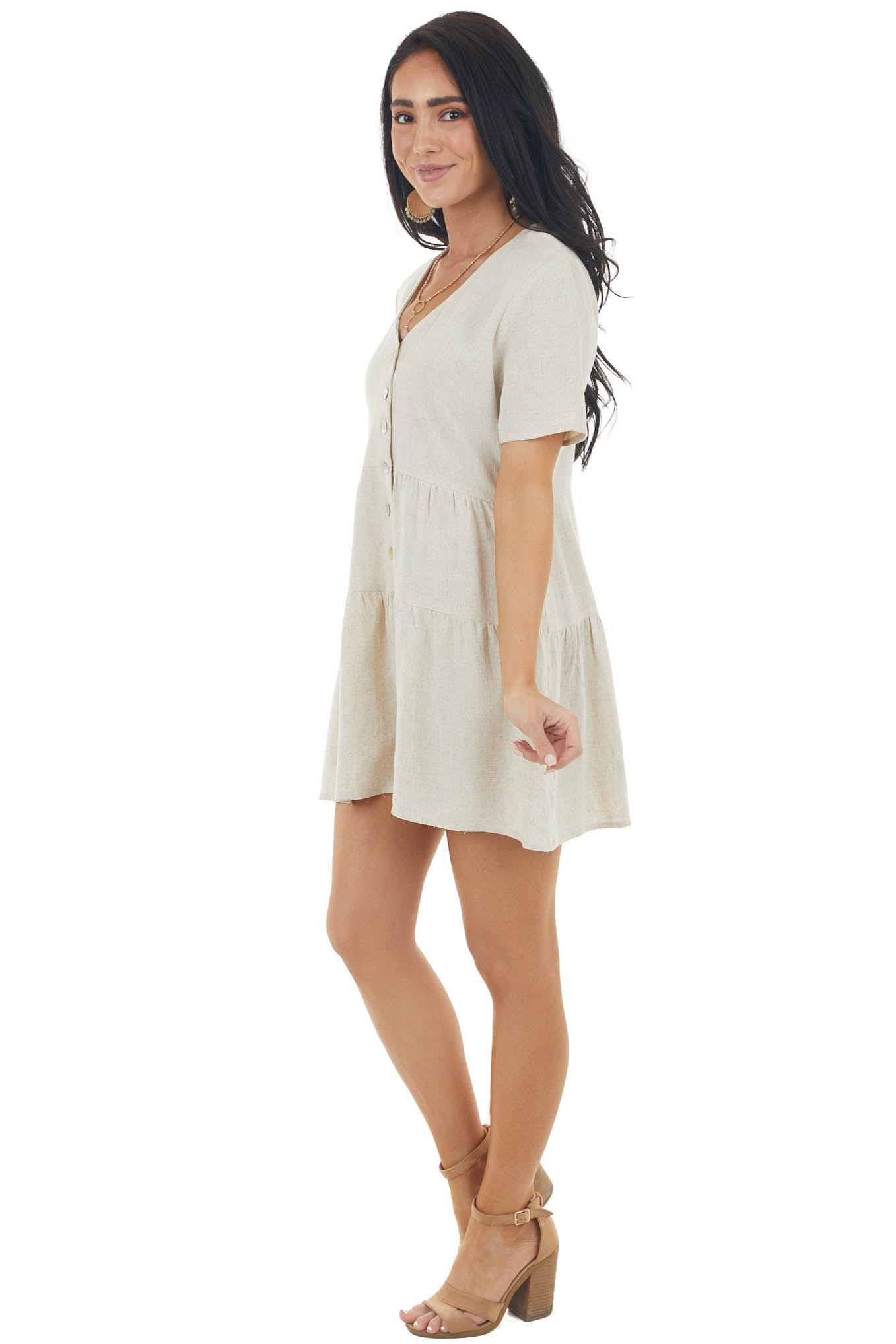 Cream Short Sleeve Romper with Button Down Front Detail