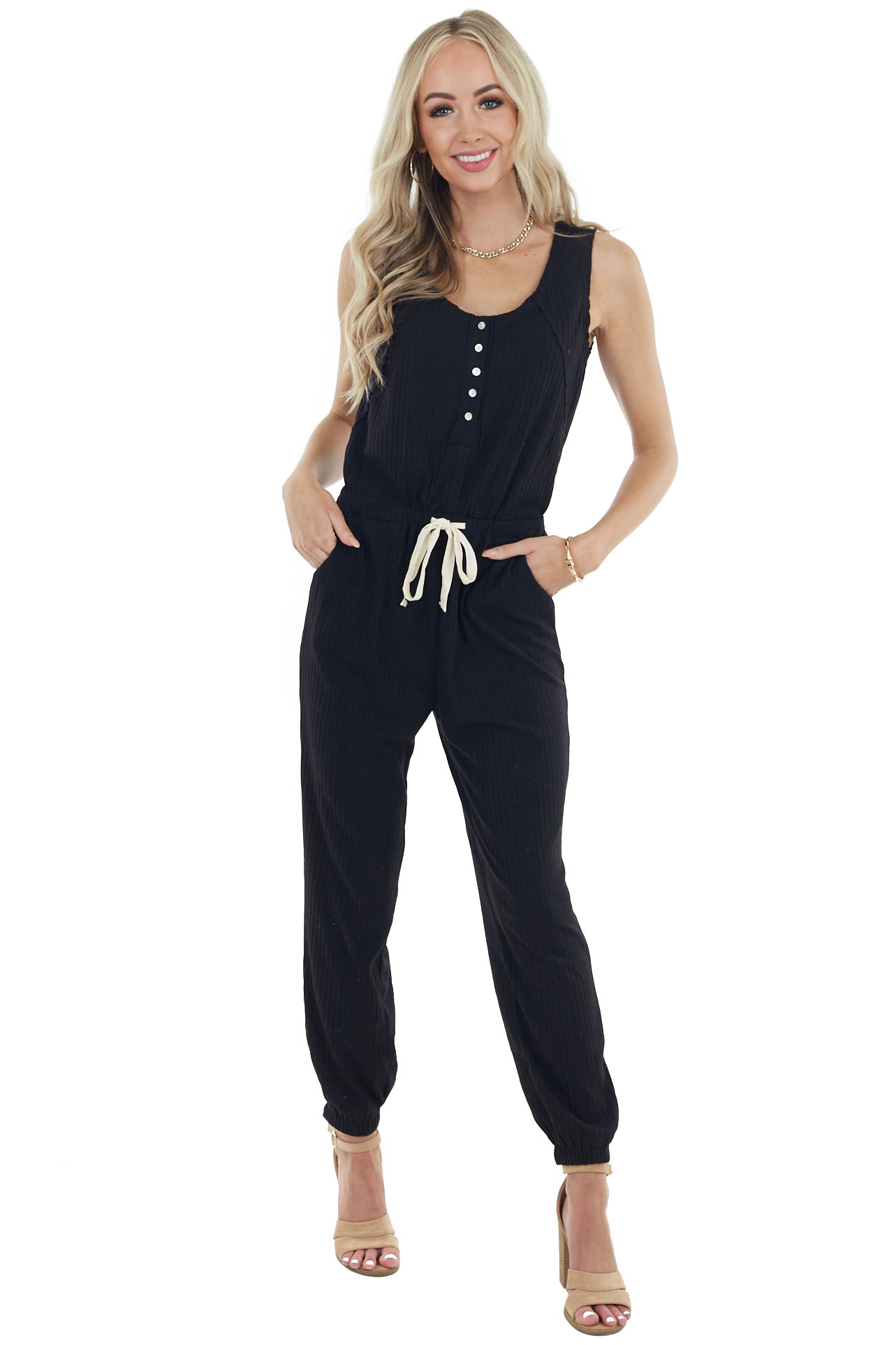 Black Sleeveless Ribbed Knit Jumpsuit with Waist Tie Detail