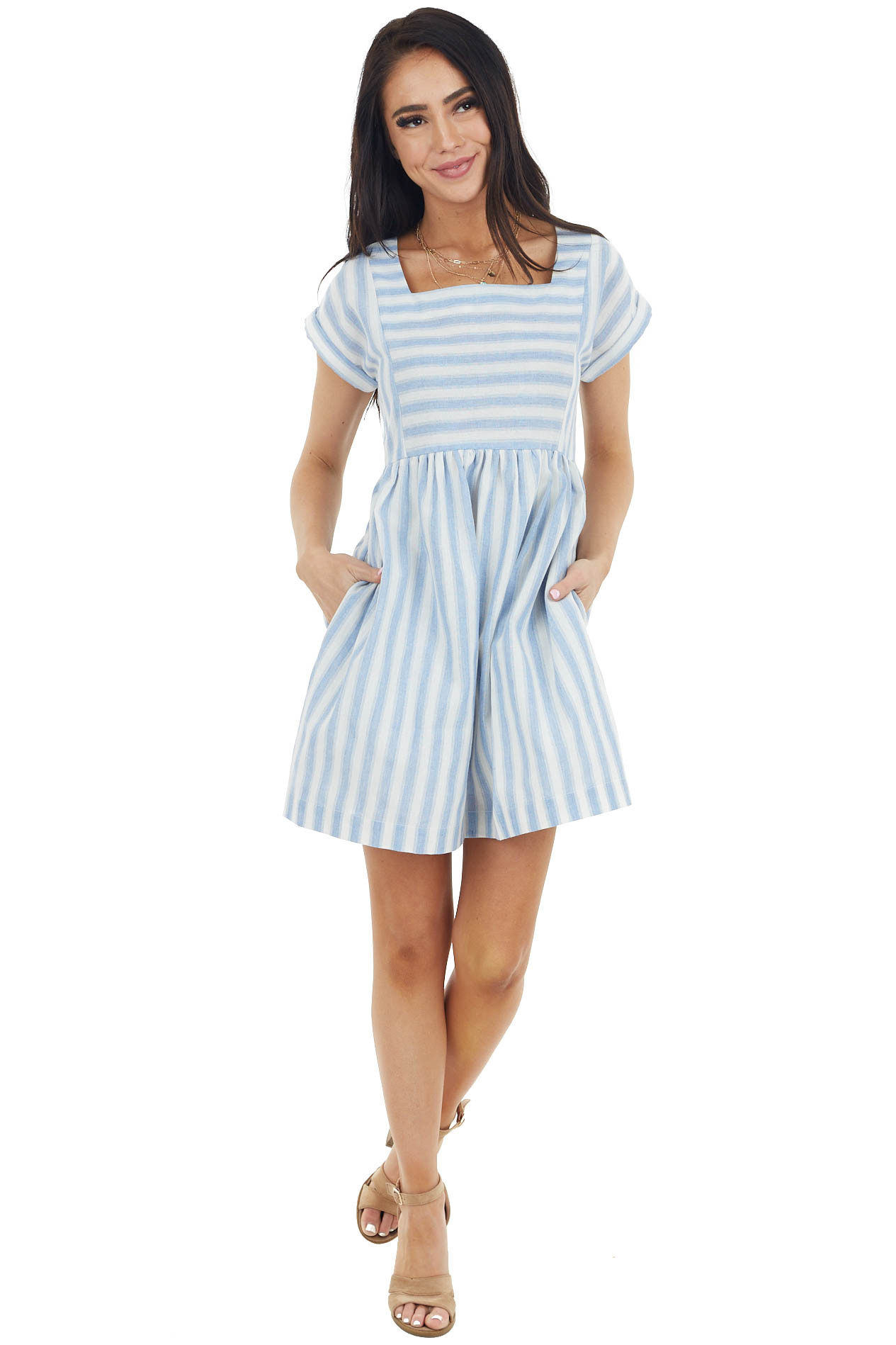 Sky Blue and Off White Square Neck Casual Mini Dress