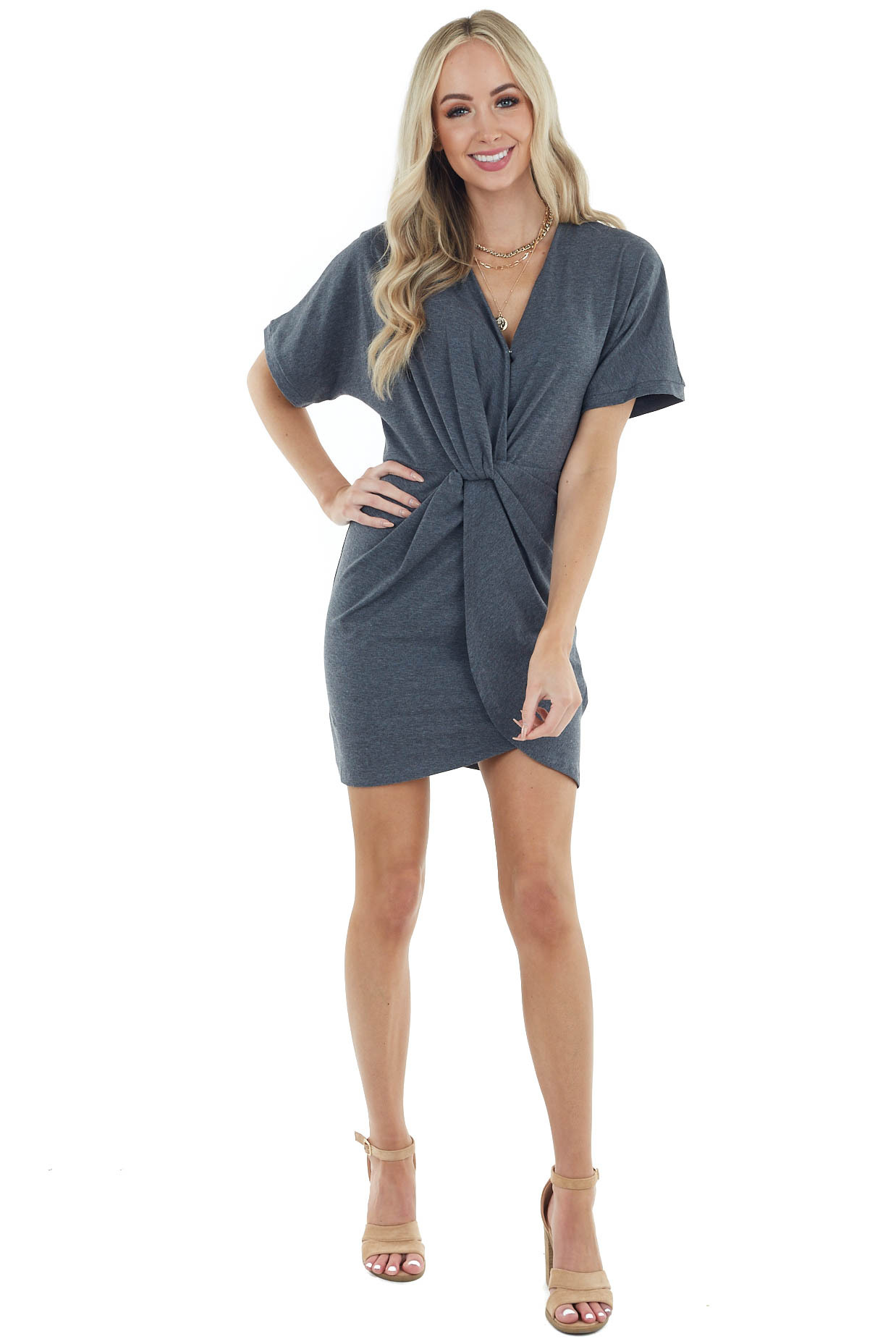 Charcoal Surplice Short Sleeve Dress with Front Twist Detail