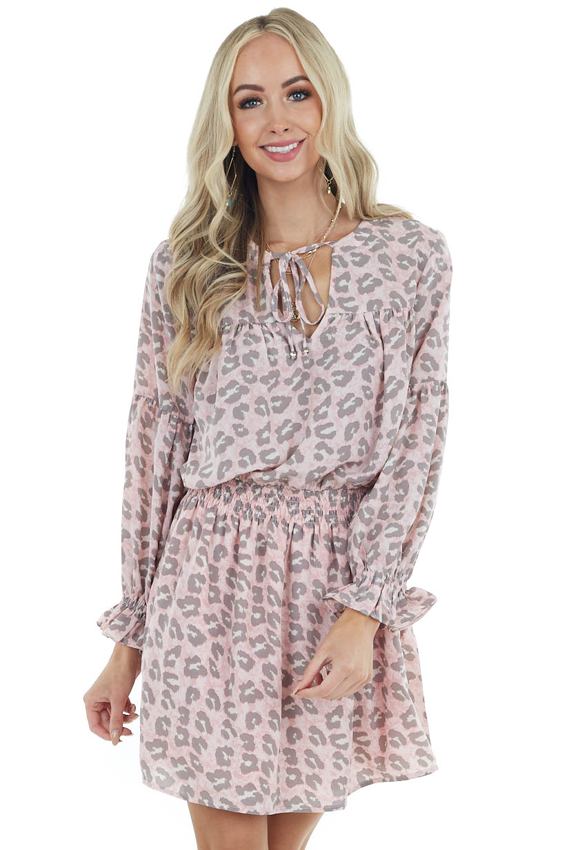 Dusty Blush Leopard Print Long Sleeve Dress with Tie Detail