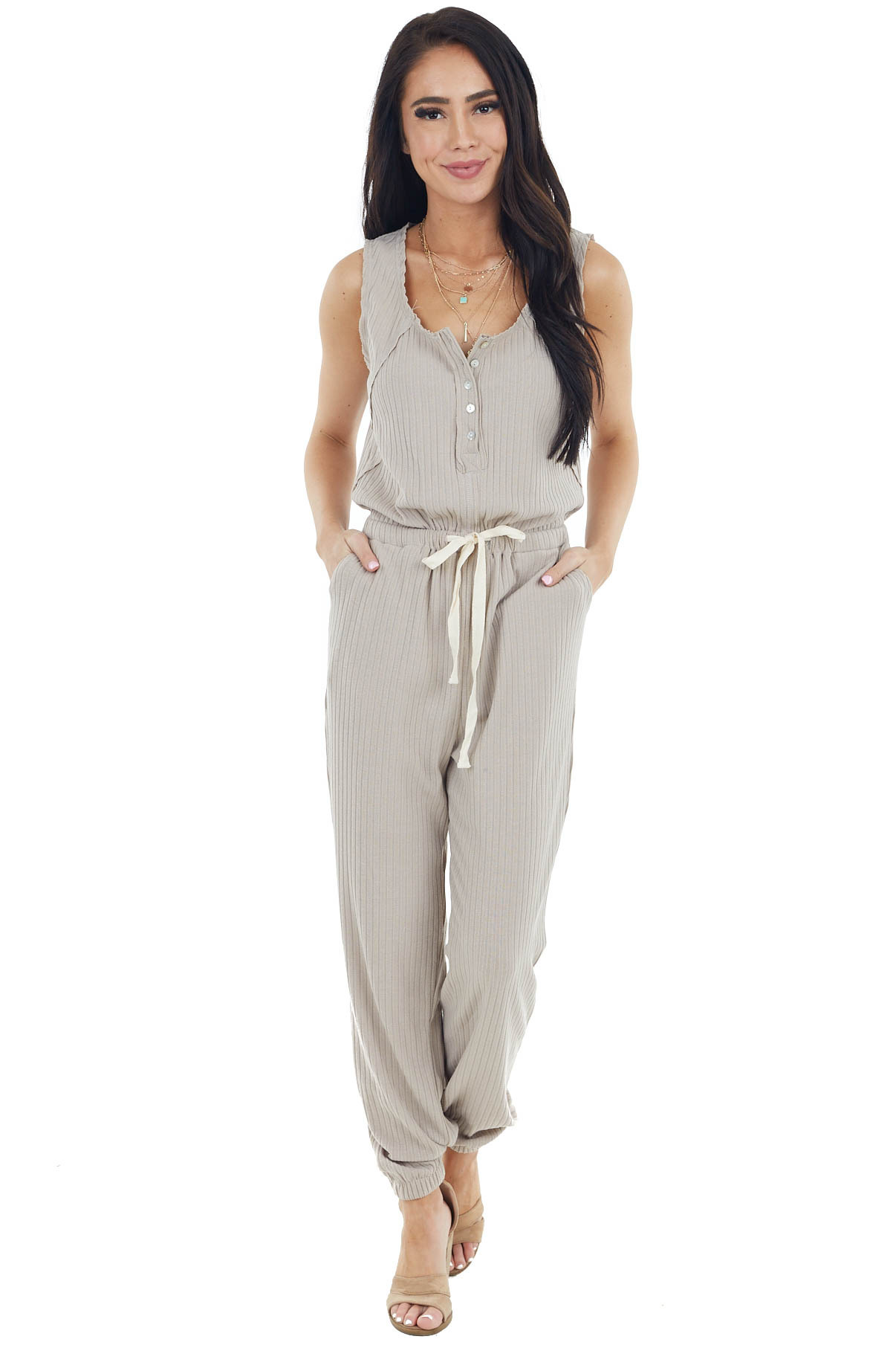 Latte Sleeveless Ribbed Knit Jumpsuit with Waist Tie Detail