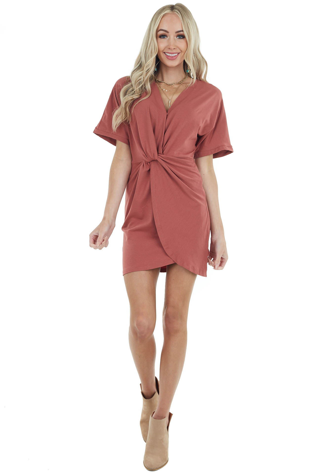 Brick Surplice Short Sleeve Dress with Front Twist Detail