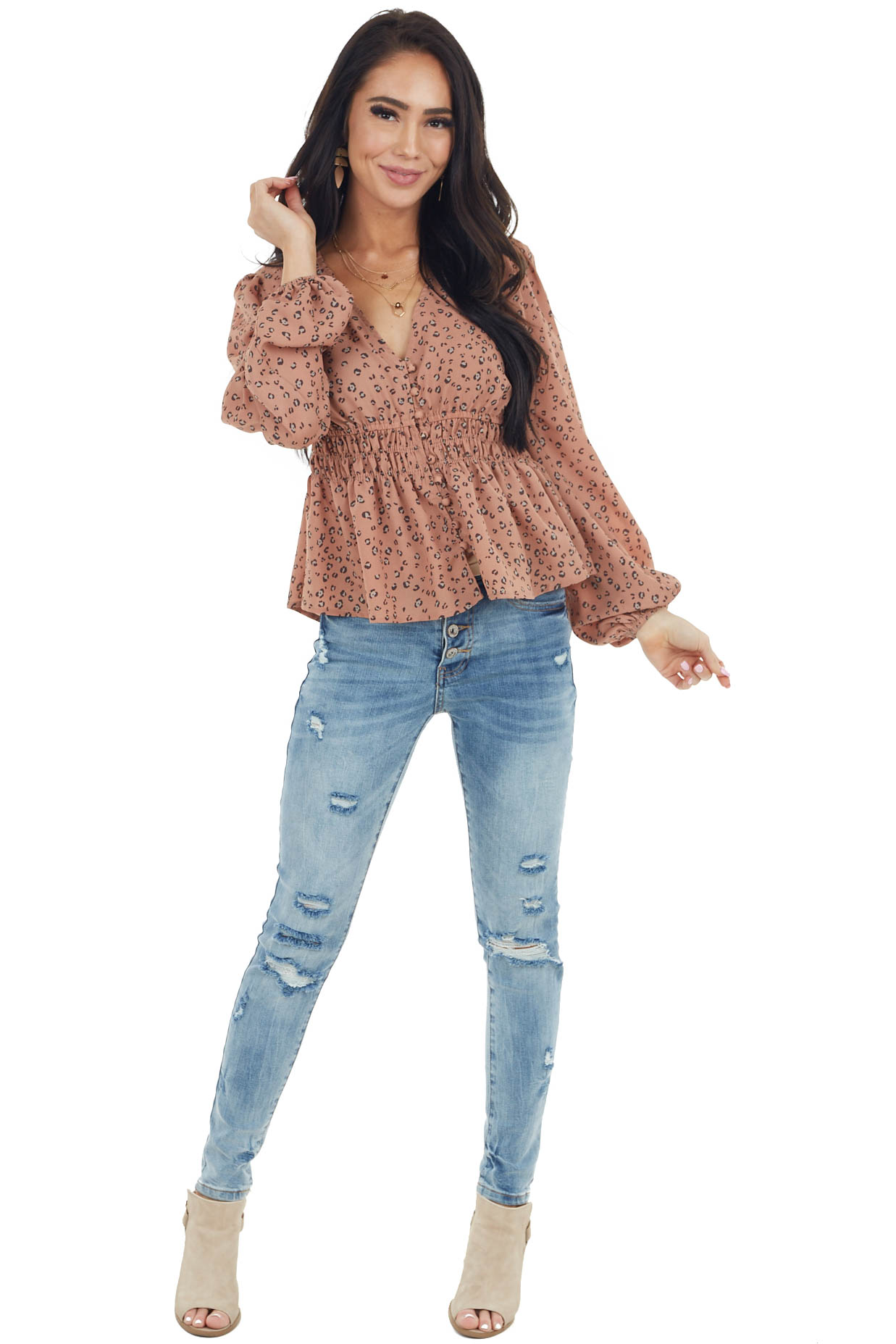 Terracotta Leopard Print V Neck Top with Long Puff Sleeves