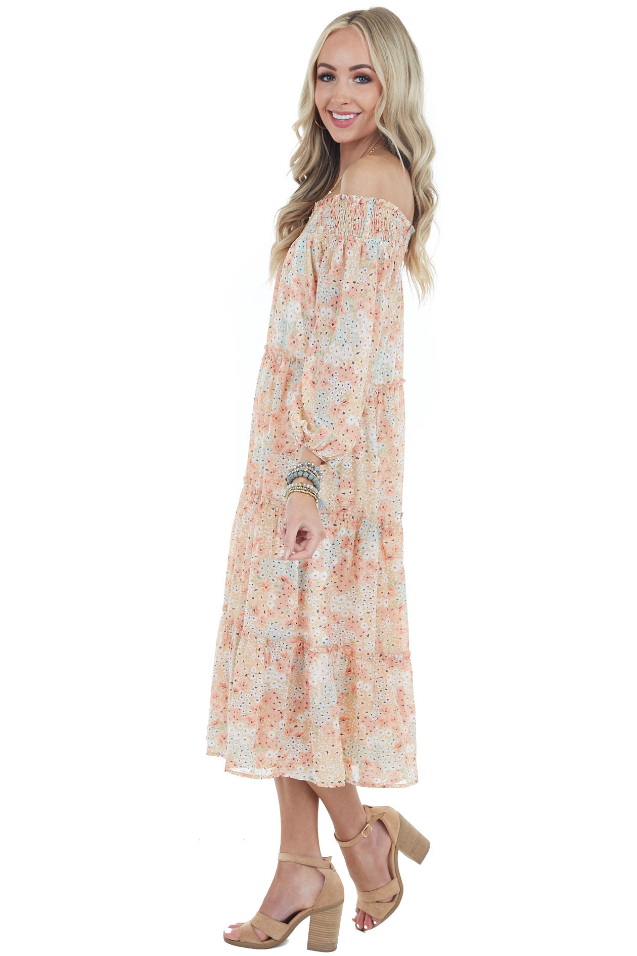 Apricot Floral Print Off Shoulder Smocked Tiered Midi Dress