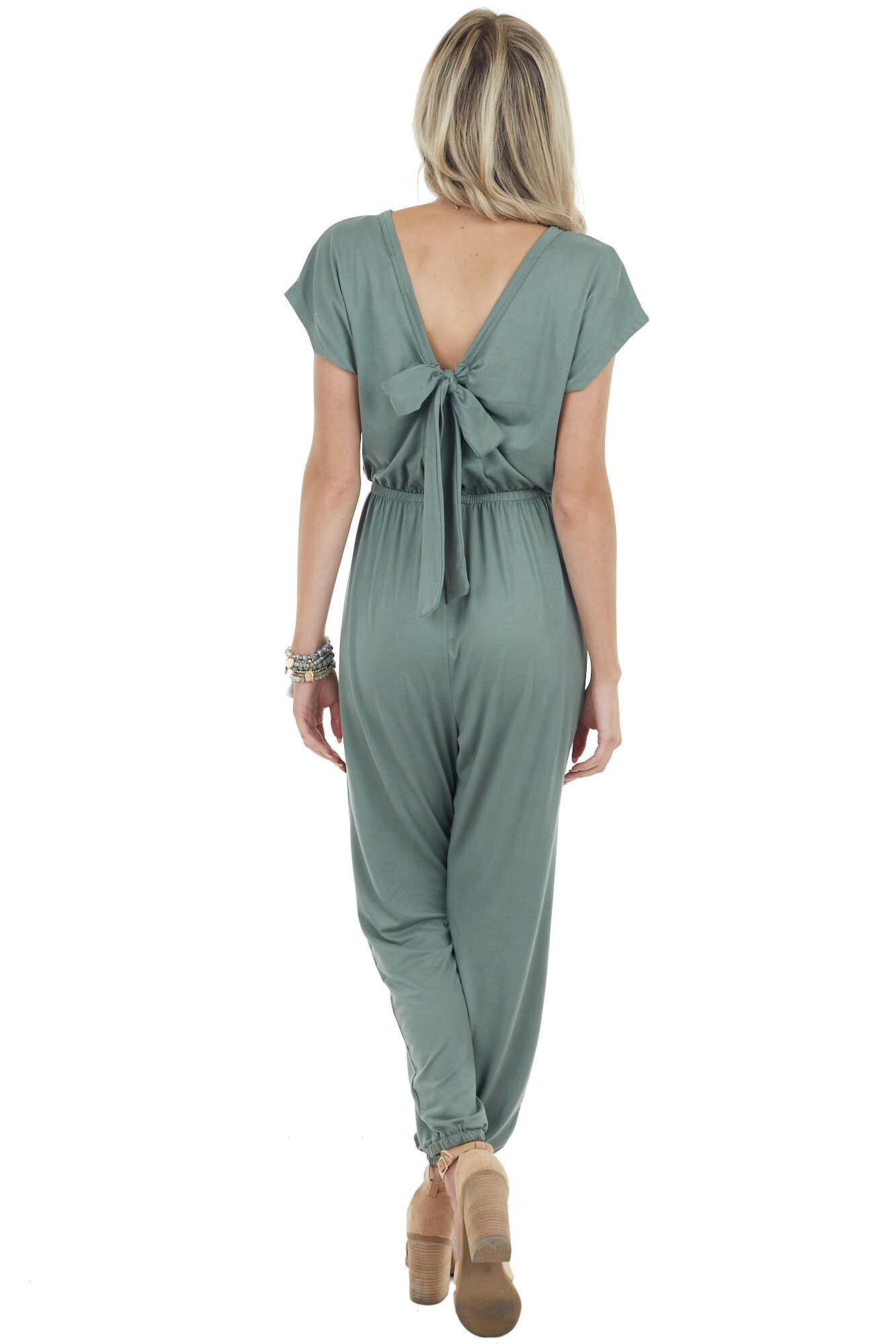 Dusty Sage Knit Jumpsuit with Open Back and Tie Detail