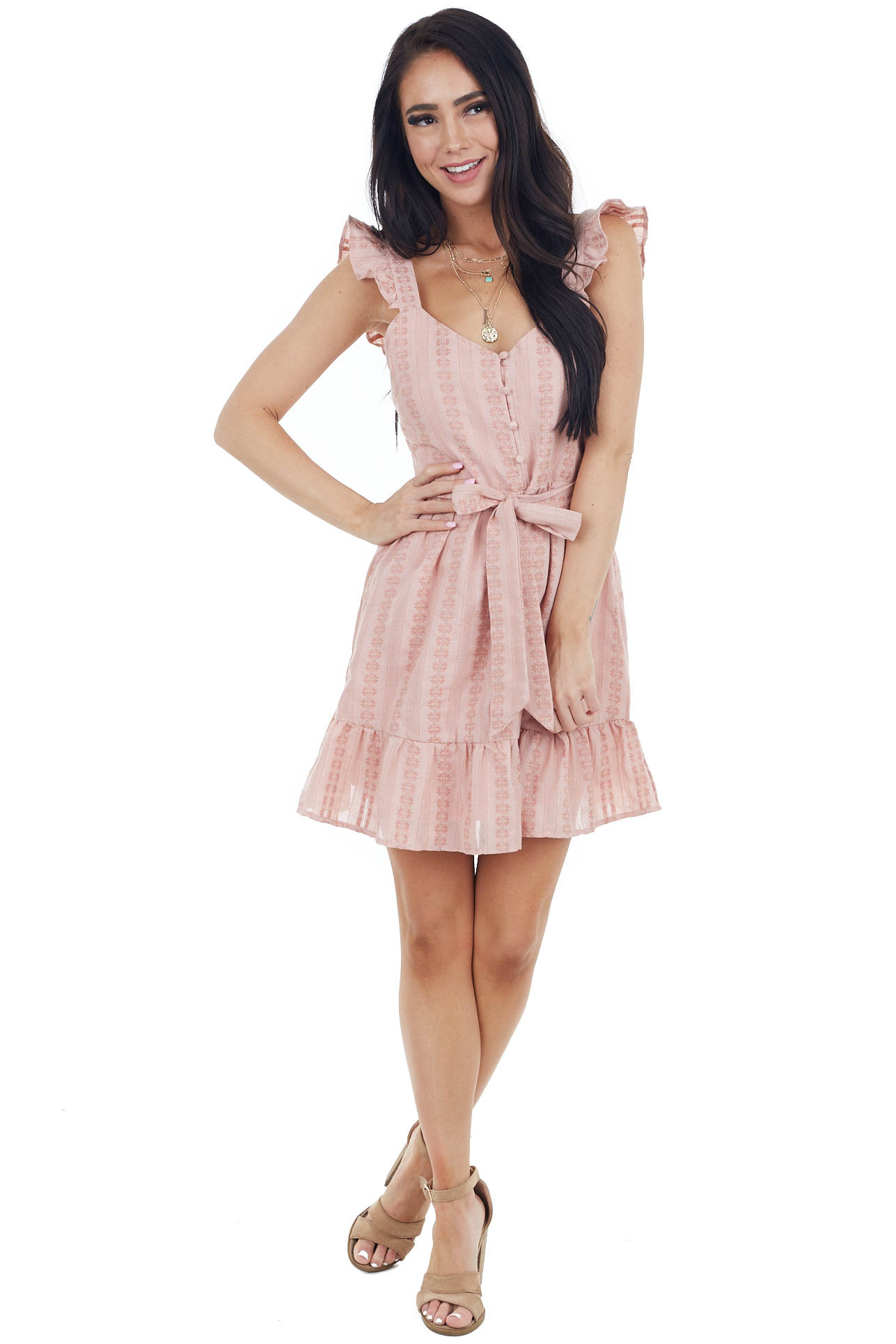 Blush Tiered Sleeveless Mini Dress with Thread Details
