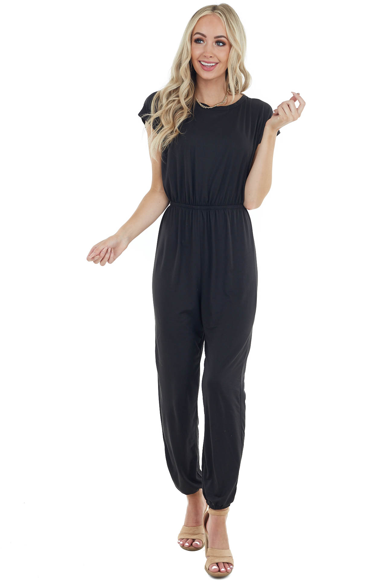 Black Knit Jumpsuit with Open Back and Tie Detail
