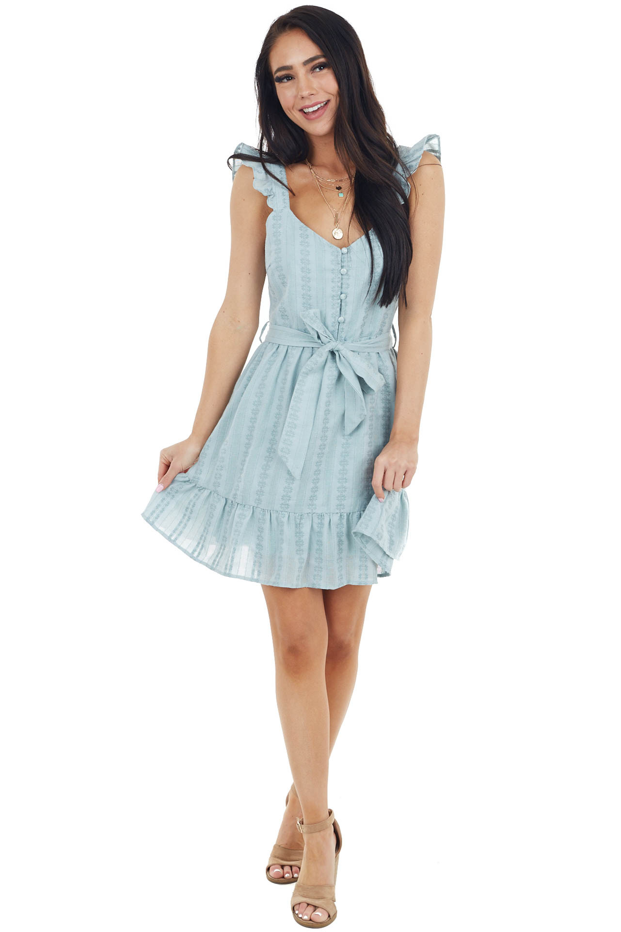 Light Blue Tiered Sleeveless Mini Dress with Thread Details
