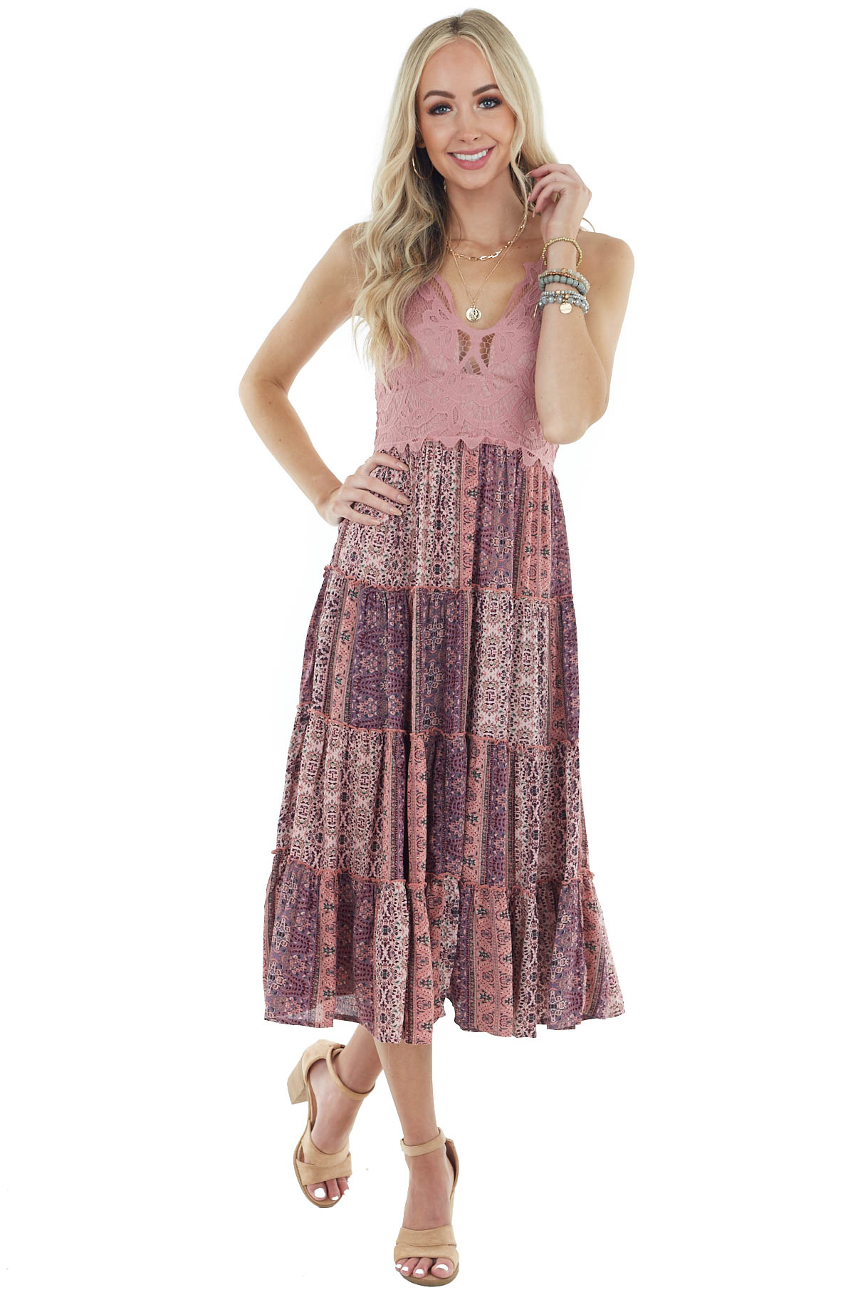 Mauve Printed Sleeveless Midi Dress with Lace Detail