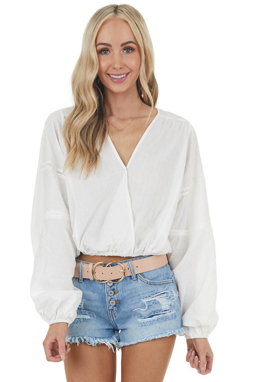 Ivory Long Bubble Sleeve Surplice Woven Top with Lace Detail