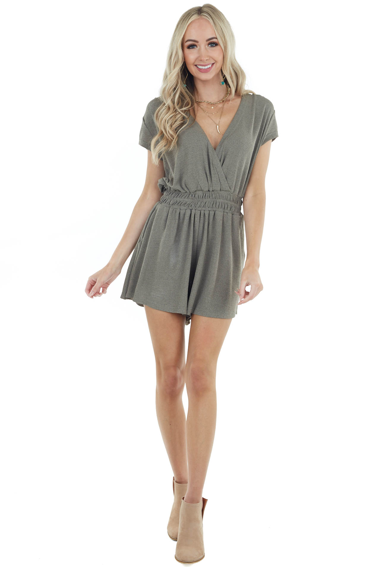 Olive Short Sleeve Surplice Romper with Elastic Waistband