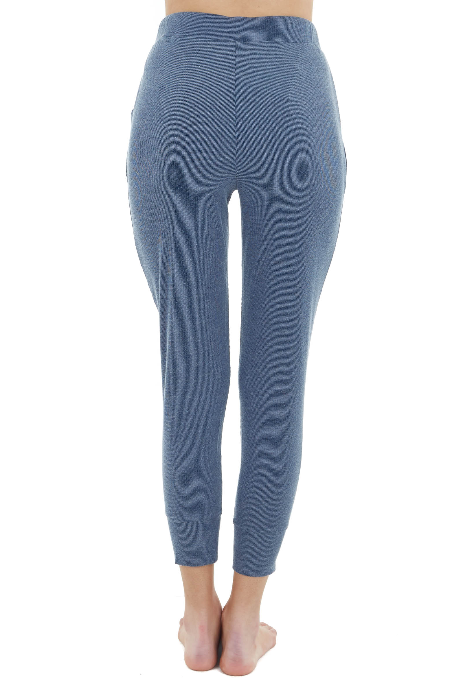 Ocean Blue Knit Joggers with Waist Tie and Pockets