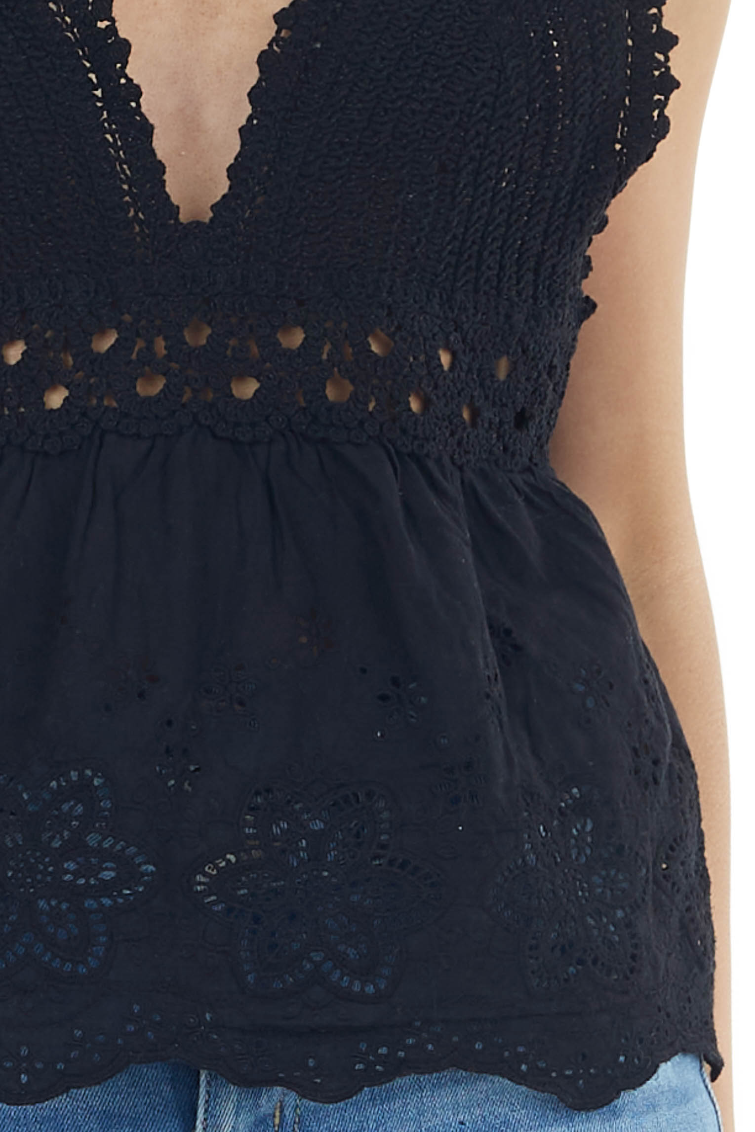 Black Crochet Sleeveless Top with Floral Lace Detail