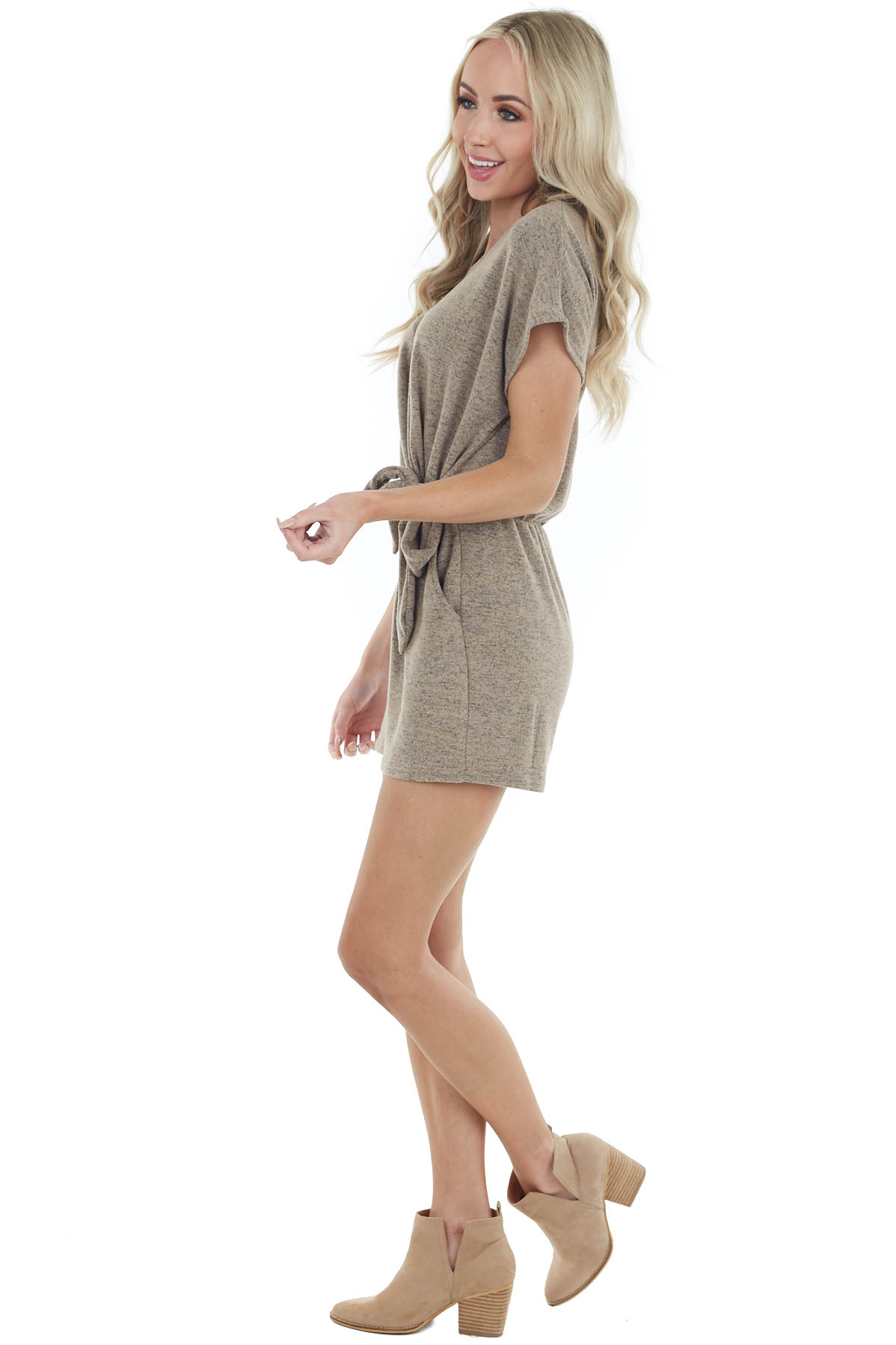 Heathered Walnut Short Sleeve Knit Romper with Front Tie