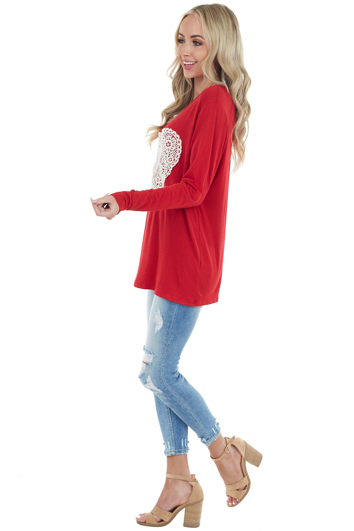 Candy Apple Red Long Sleeve Top With Crochet Lace Heart