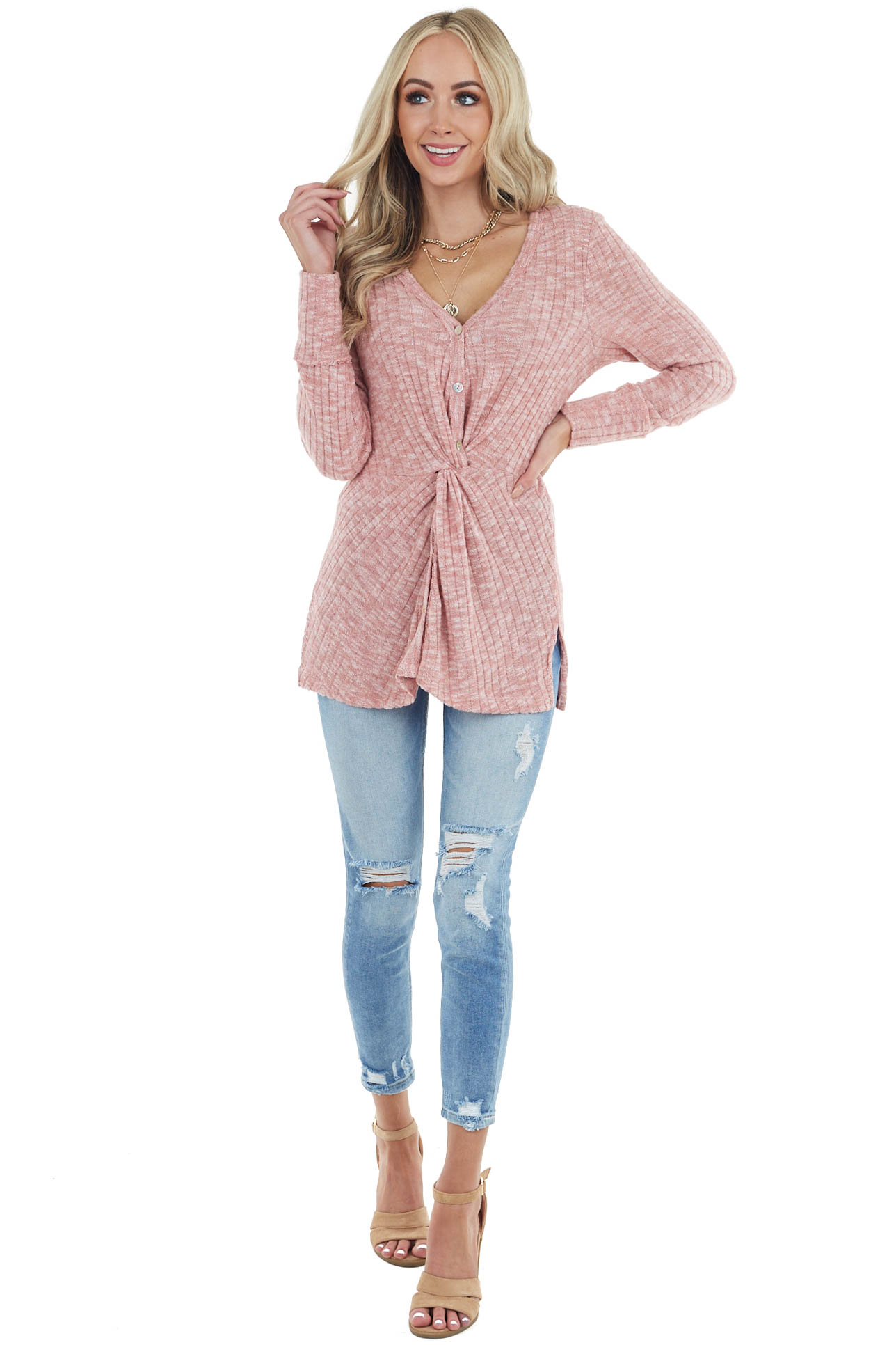 Heathered Blush Textured Ribbed Knit Button Up Top with Knot