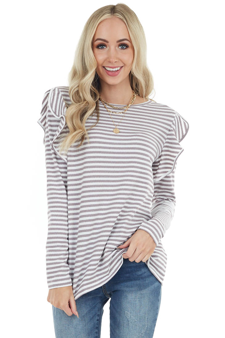 Mocha and Ivory Striped Long Sleeve Top with Ruffle Detail