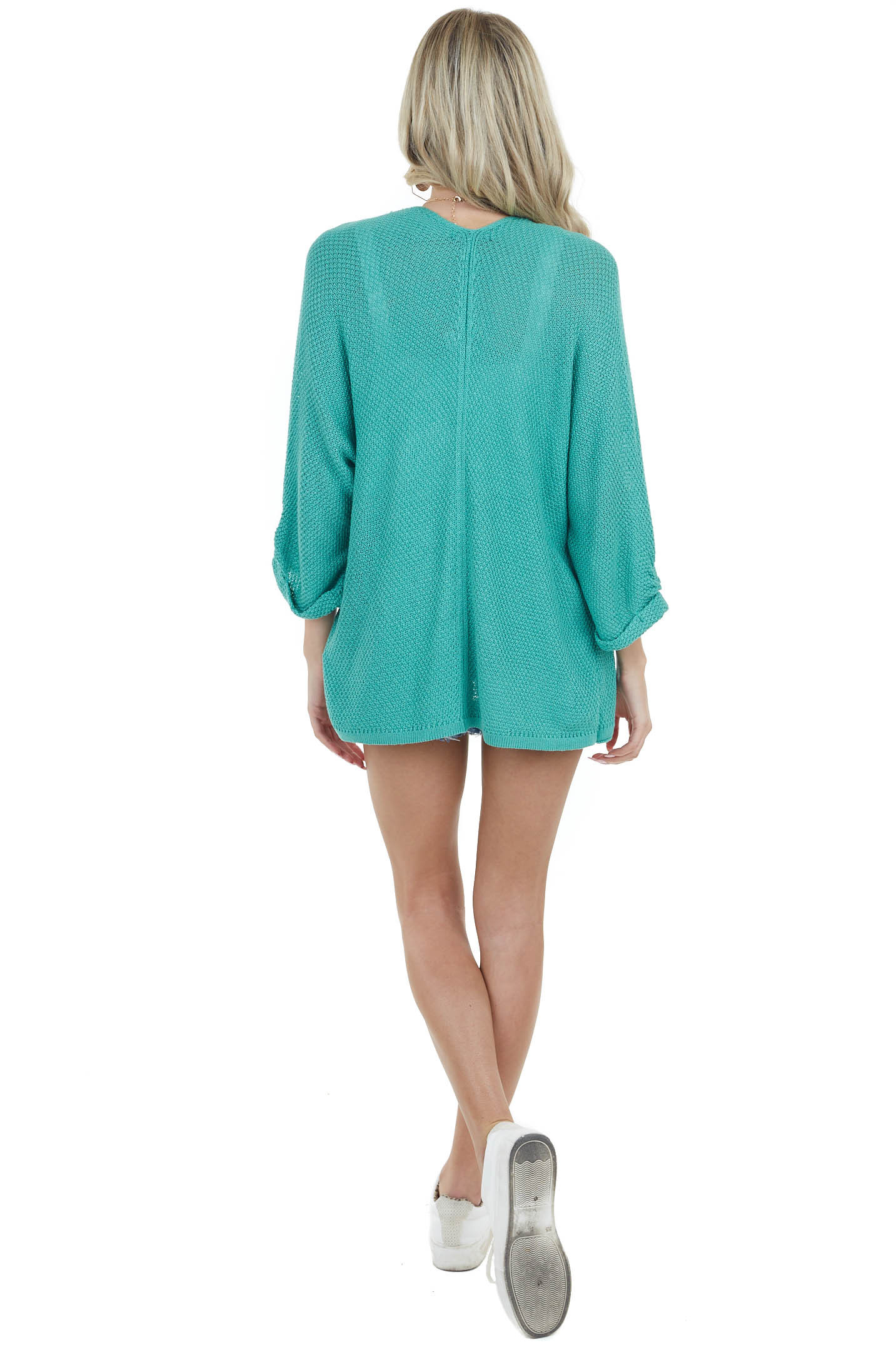 Deep Aqua Open Front Knit Cardigan with 3/4 Wide Sleeves