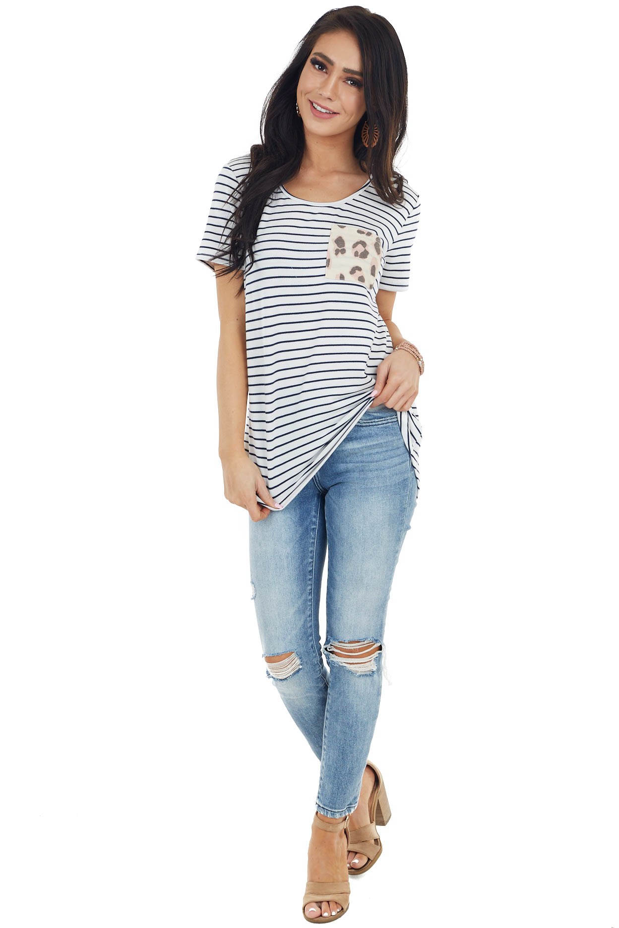 Off White Striped Short Sleeve Top with Printed Chest Pocket