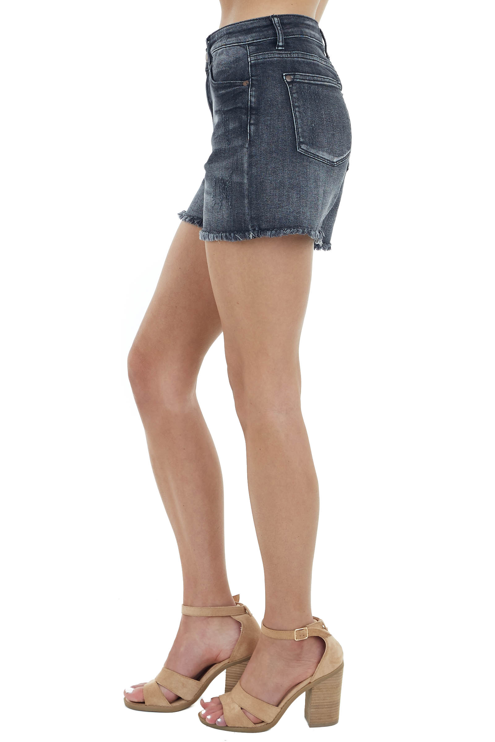 Faded Black High Waisted Distressed Shorts with Frayed Hem