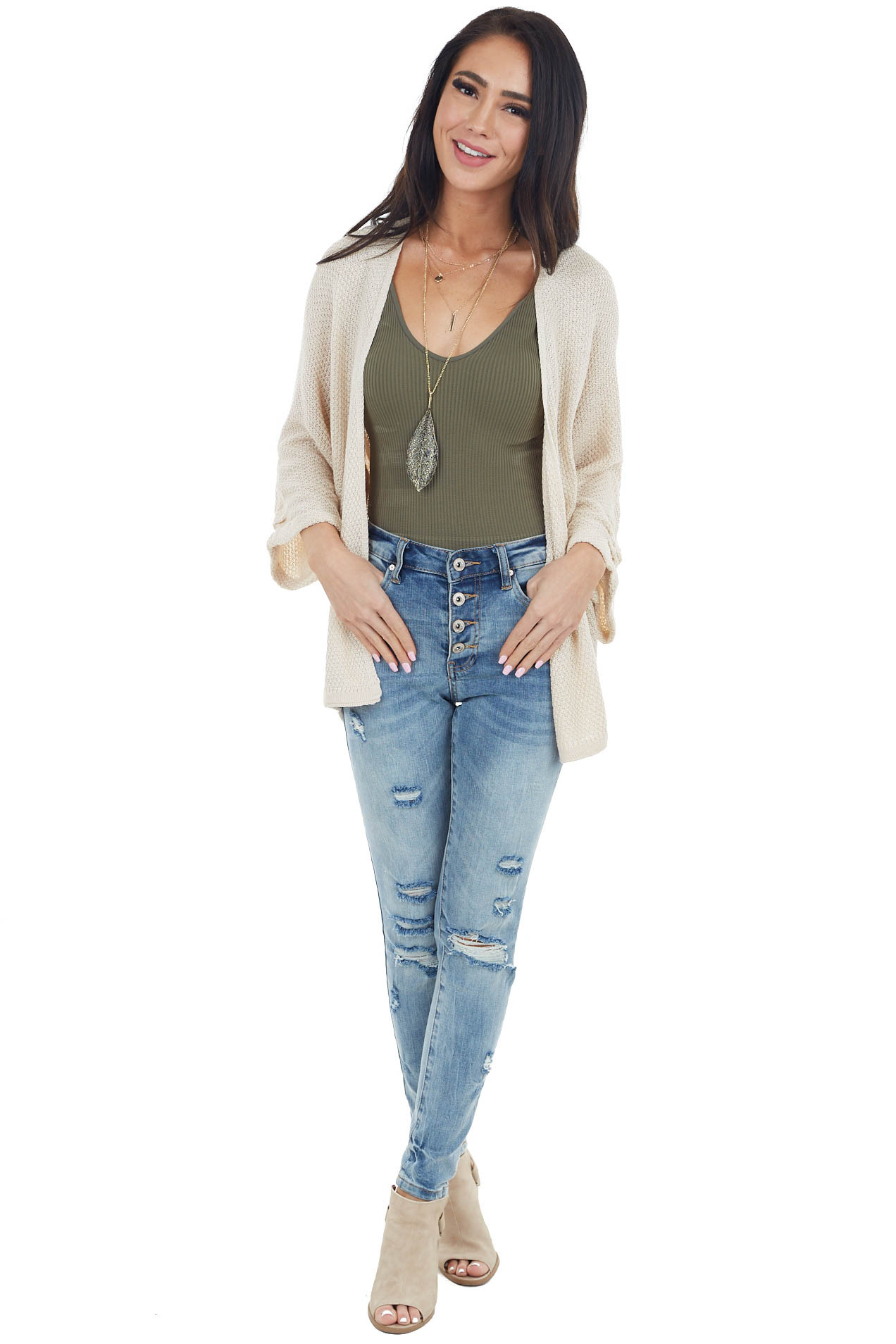Light Beige Open Front Knit Cardigan with 3/4 Wide Sleeves