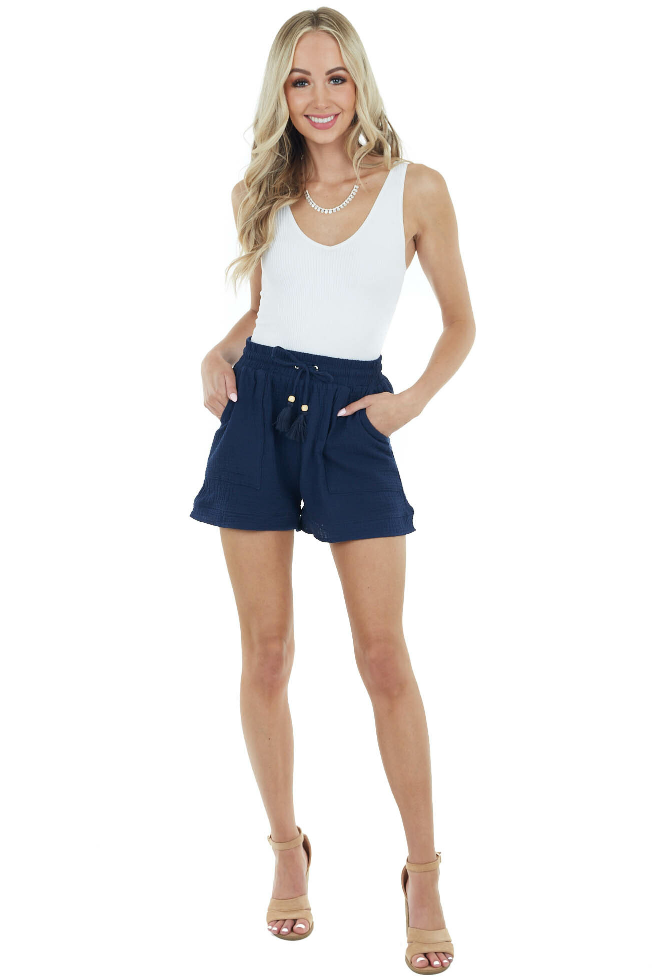 Navy Blue Textured Linen Drawstring Shorts with Pockets