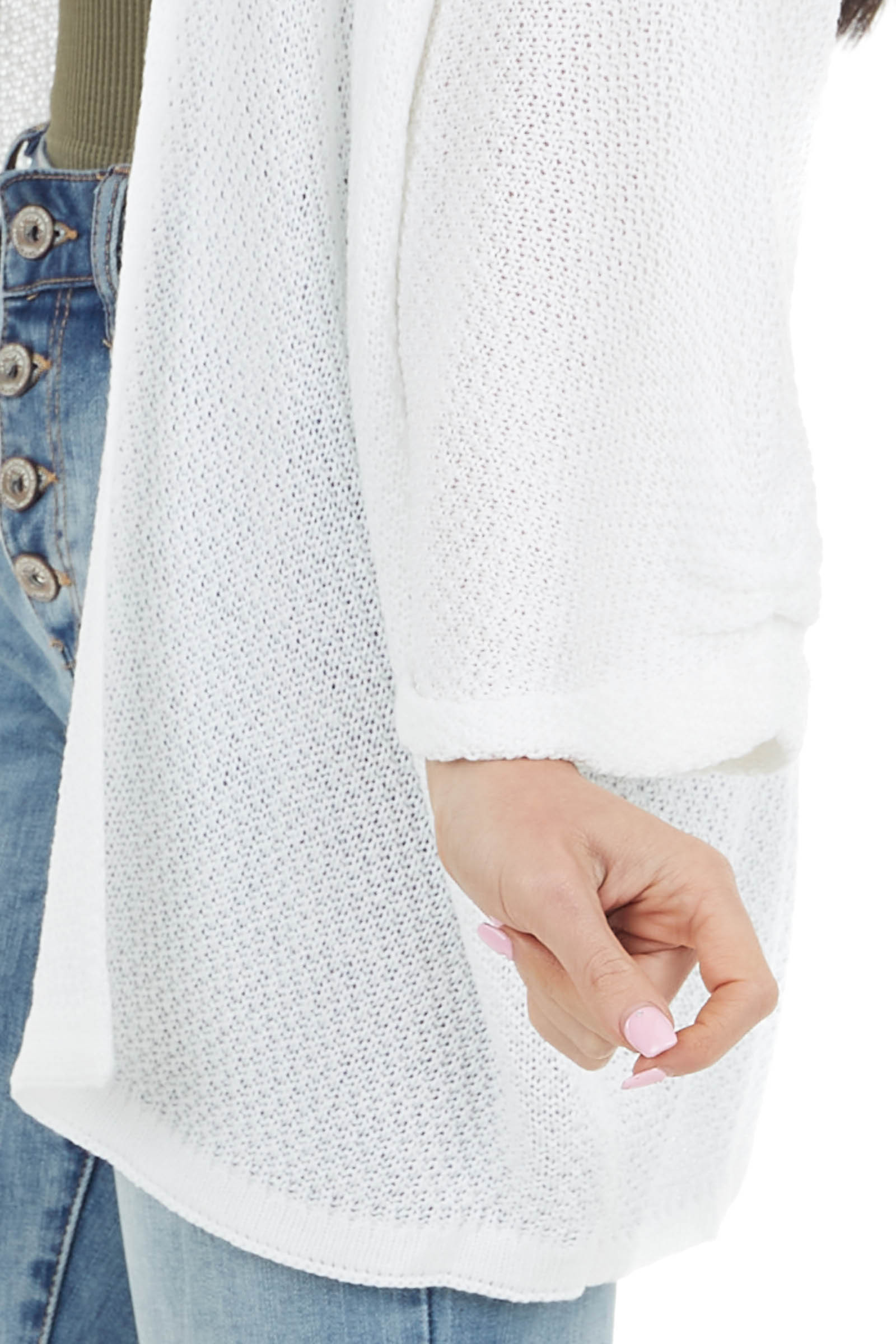 Ivory Open Front Knit Cardigan with 3/4 Wide Sleeves