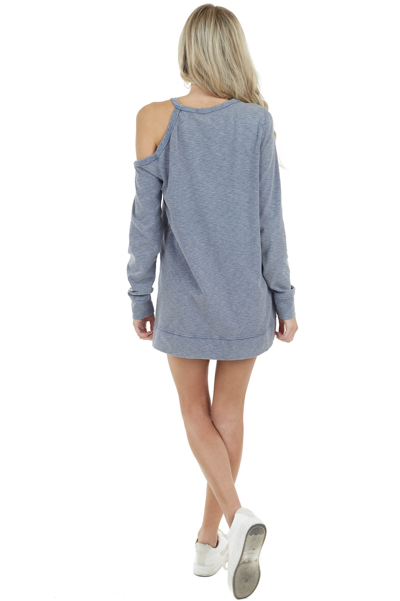 Dusty Blue Two Toned Long Sleeve Top with Cold Shoulder