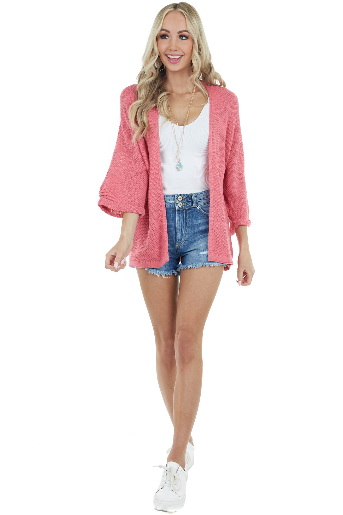 Bright Pink Open Front Knit Cardigan with 3/4 Wide Sleeves