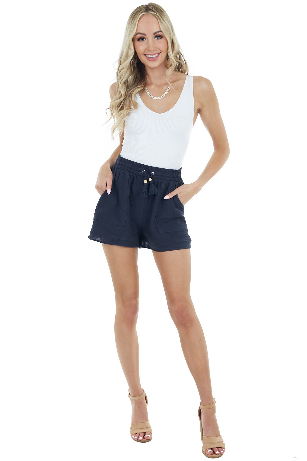 Dark Charcoal Textured Linen Drawstring Shorts with Pockets