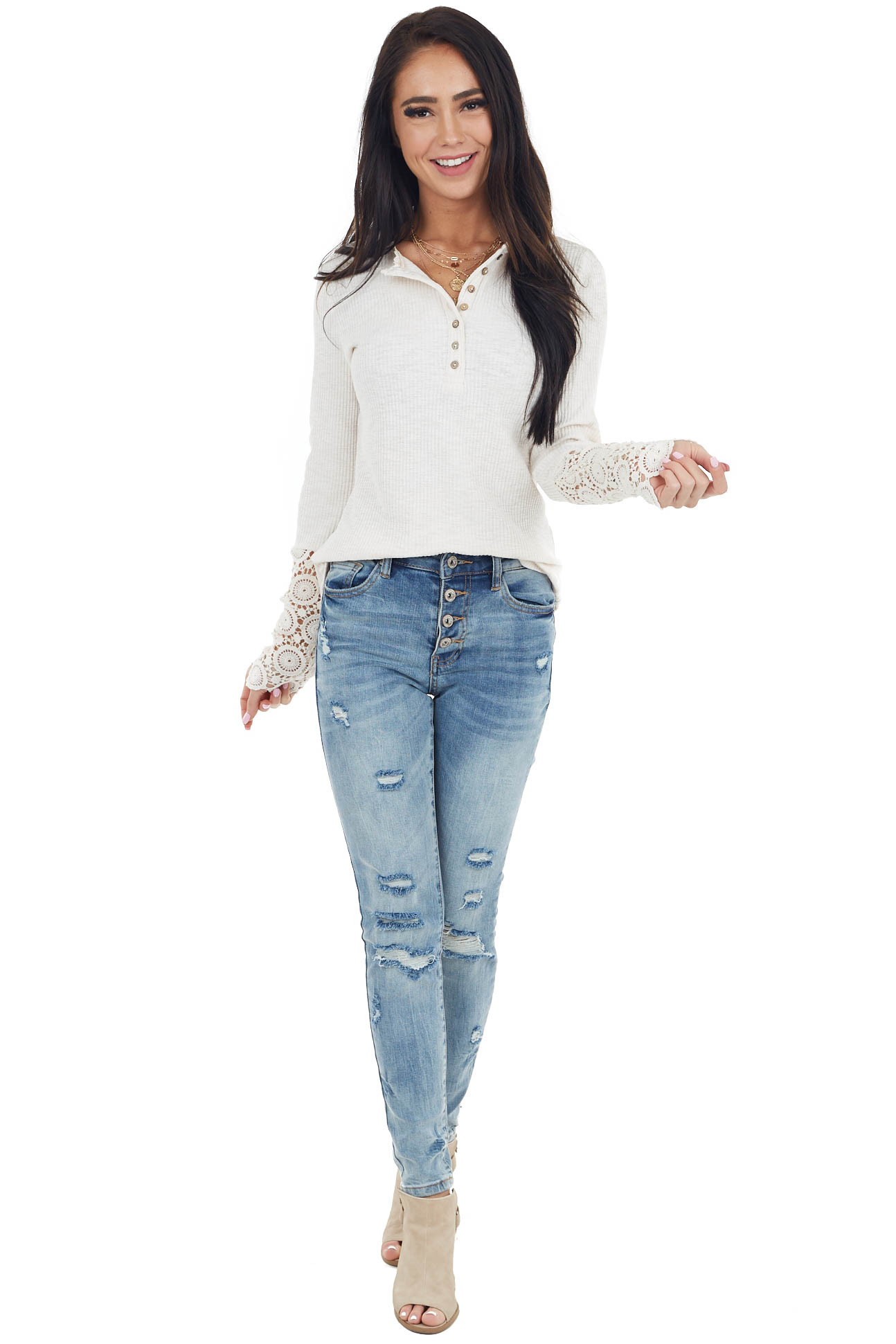 Cream Henley Long Sleeve Ribbed Top with Crochet Lace Detail