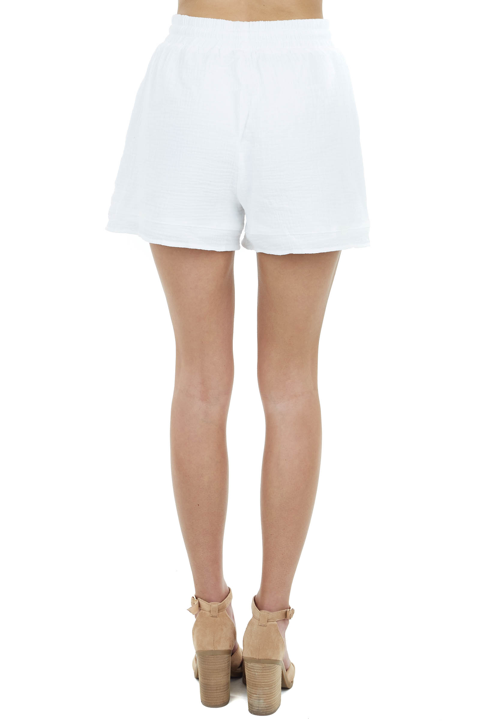 Off White Textured Linen Drawstring Shorts with Pockets
