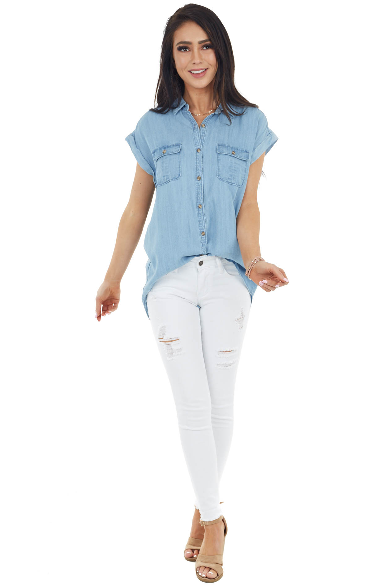 Light Wash Short Sleeve Buttoned Down Chambray Top
