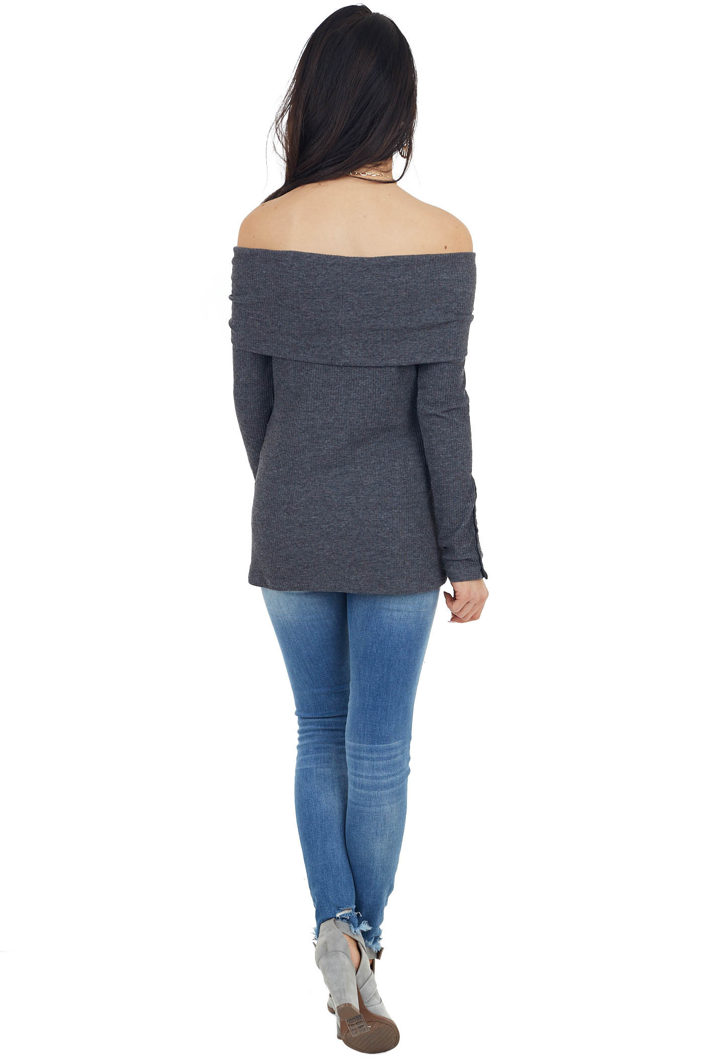 Charcoal Grey Ribbed Knit Folded Off the Shoulder Top