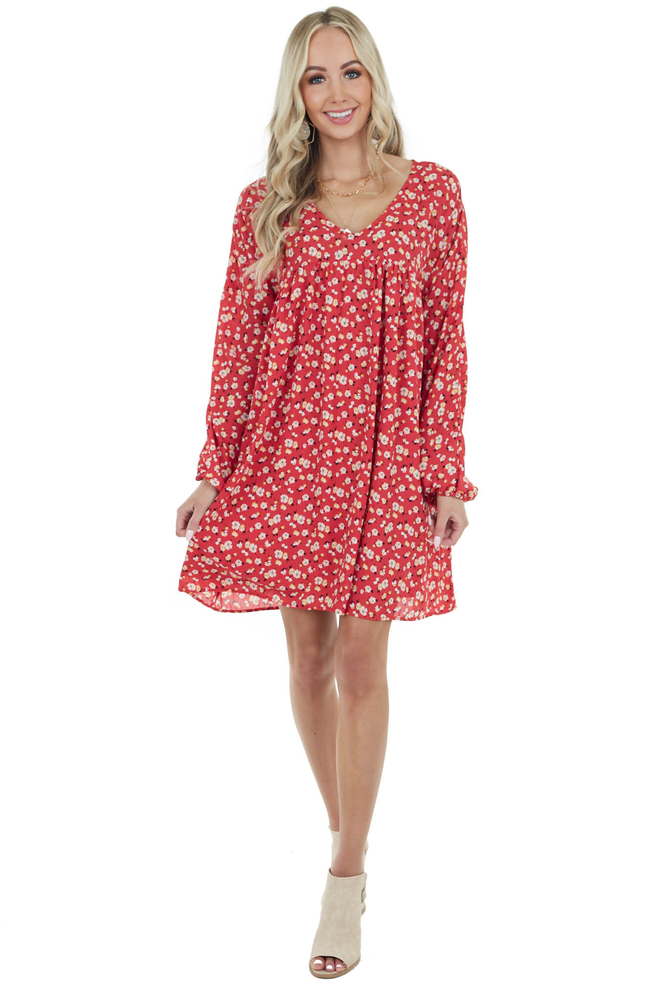 Crimson Red Floral Short Babydoll Dress with Long Sleeves