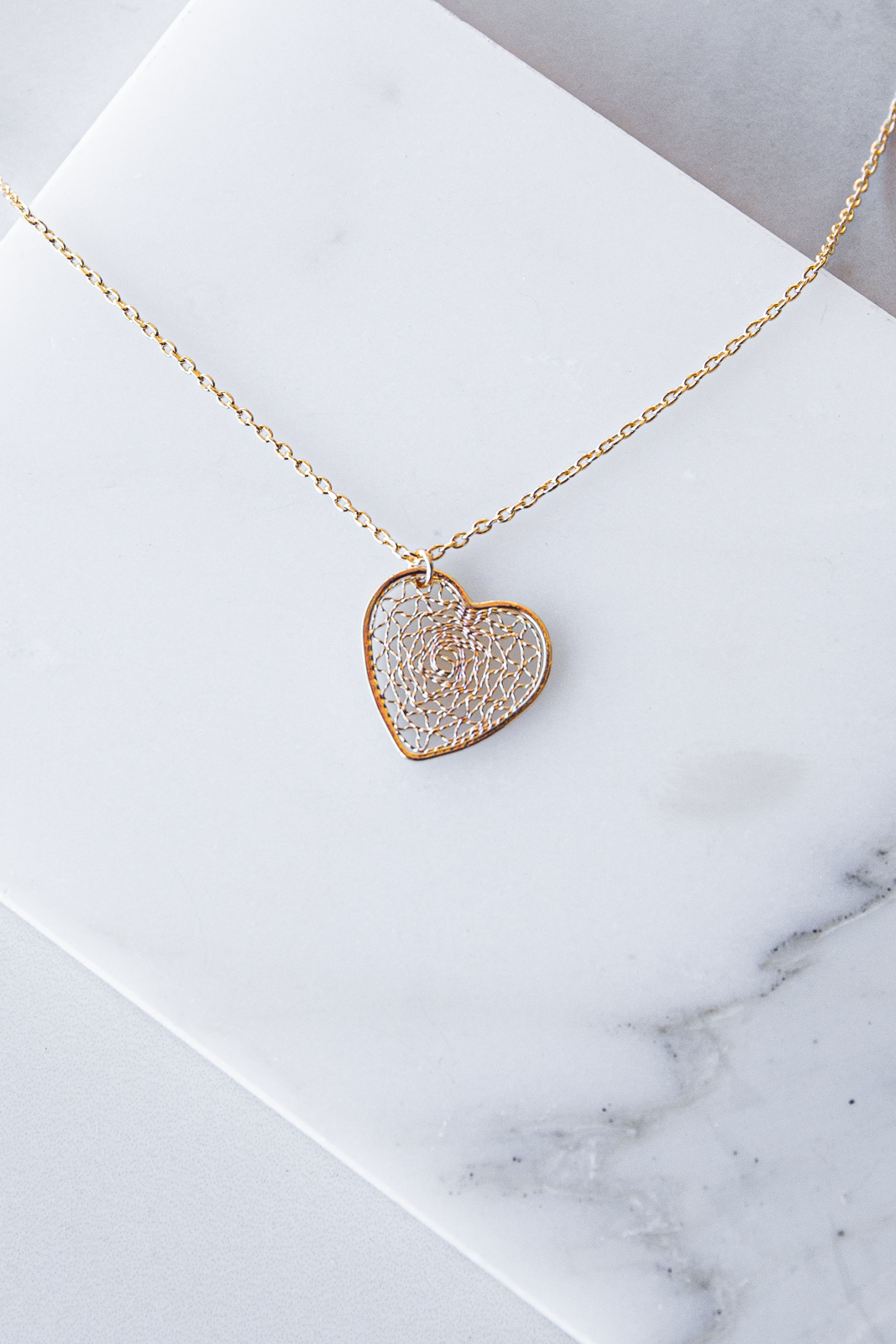 Gold Dainty Chain Necklace with Filigree Heart Charm