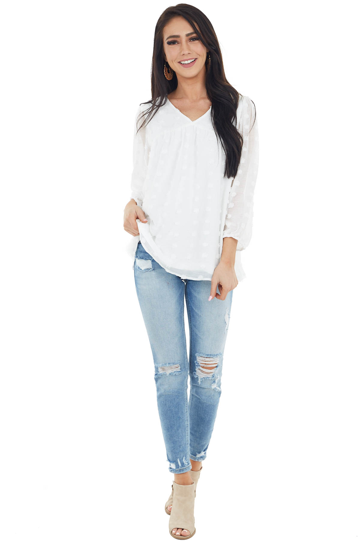 Ivory Swiss Dot Babydoll Top with Long Bubble Sleeves