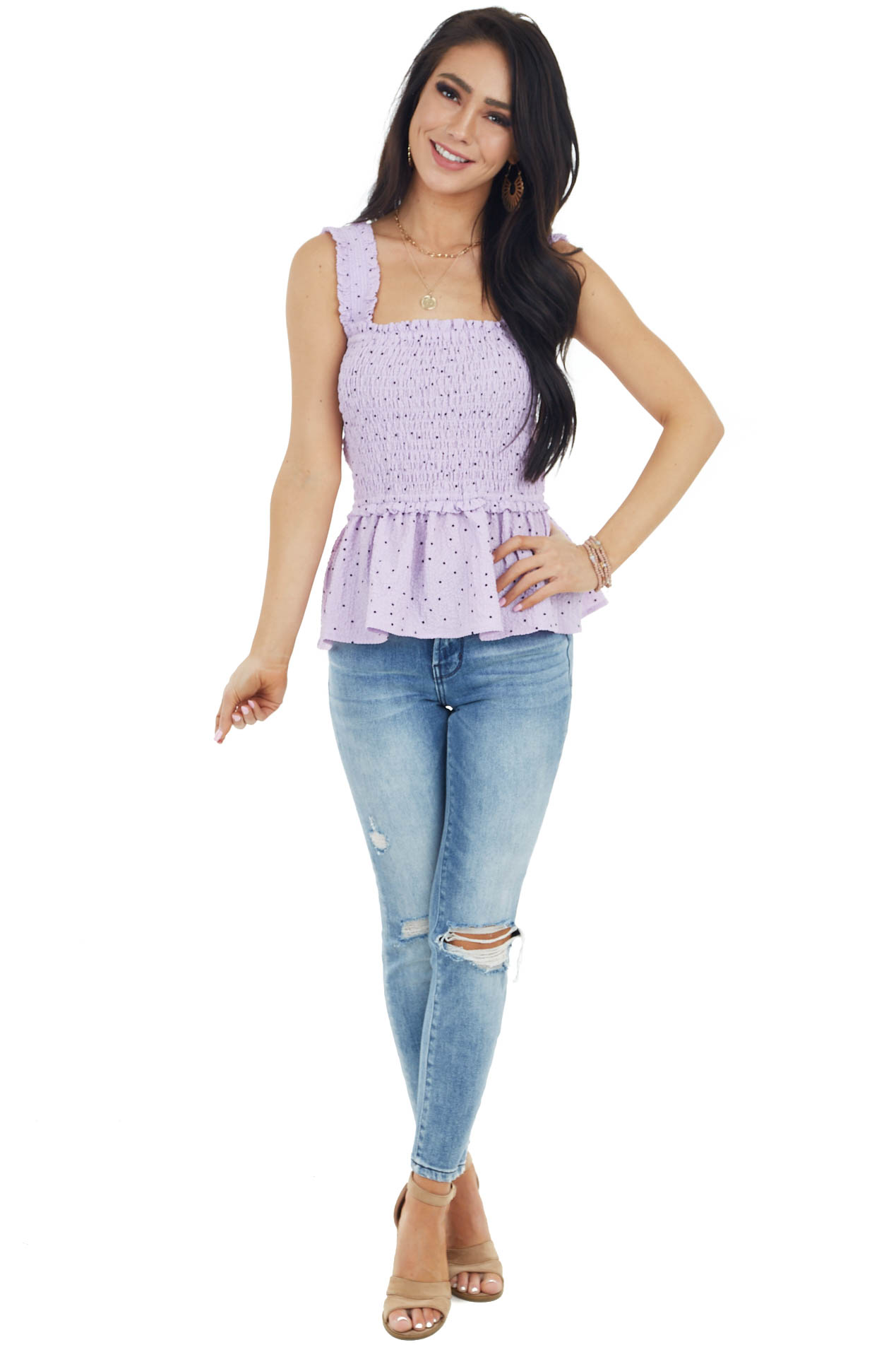 Lilac and Black Polka Dot Cropped Tank Top with Smocked Bust