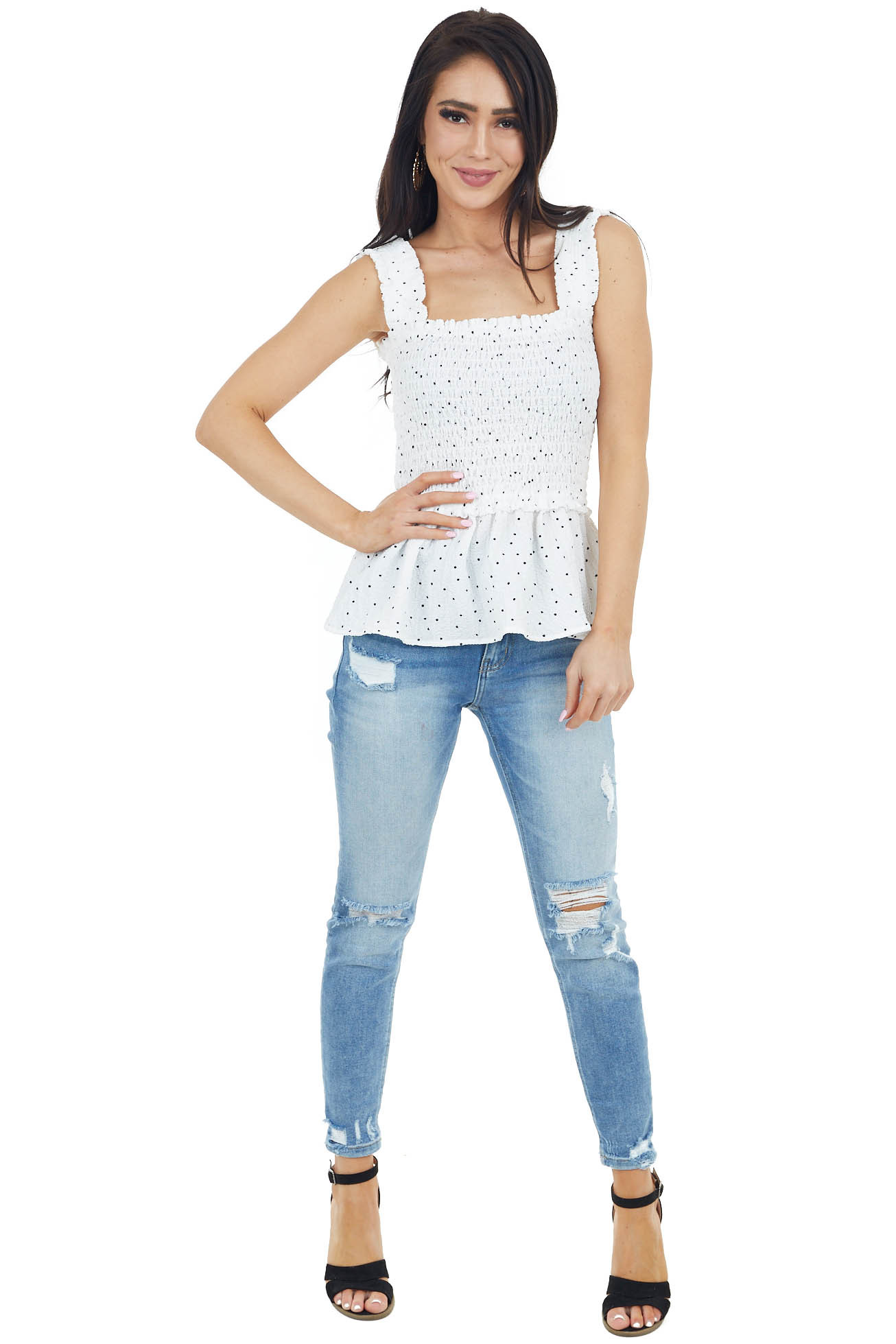 White and Black Polka Dot Cropped Tank Top with Smocked Bust