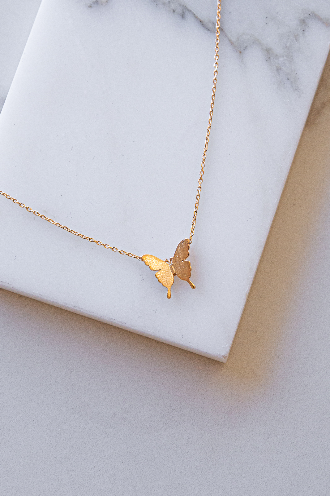 Brushed Gold Butterfly Charm Necklace with Dainty Chain