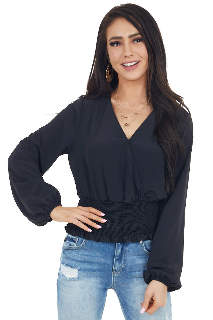 Black Long Sleeve Surplice Blouse with Elastic Smocked Waist