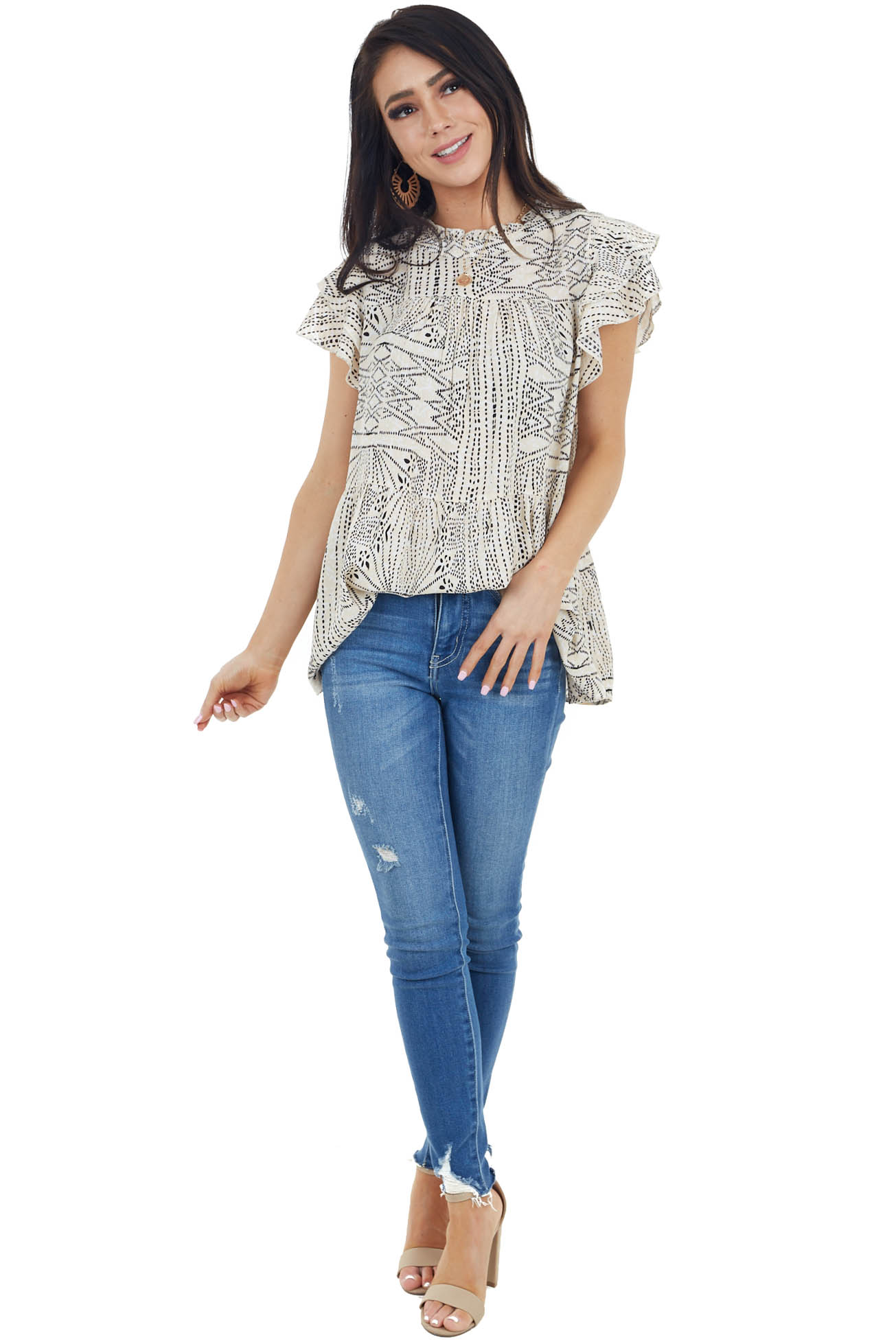 Beige Printed Blouse with Tiered Flutter Short Sleeve