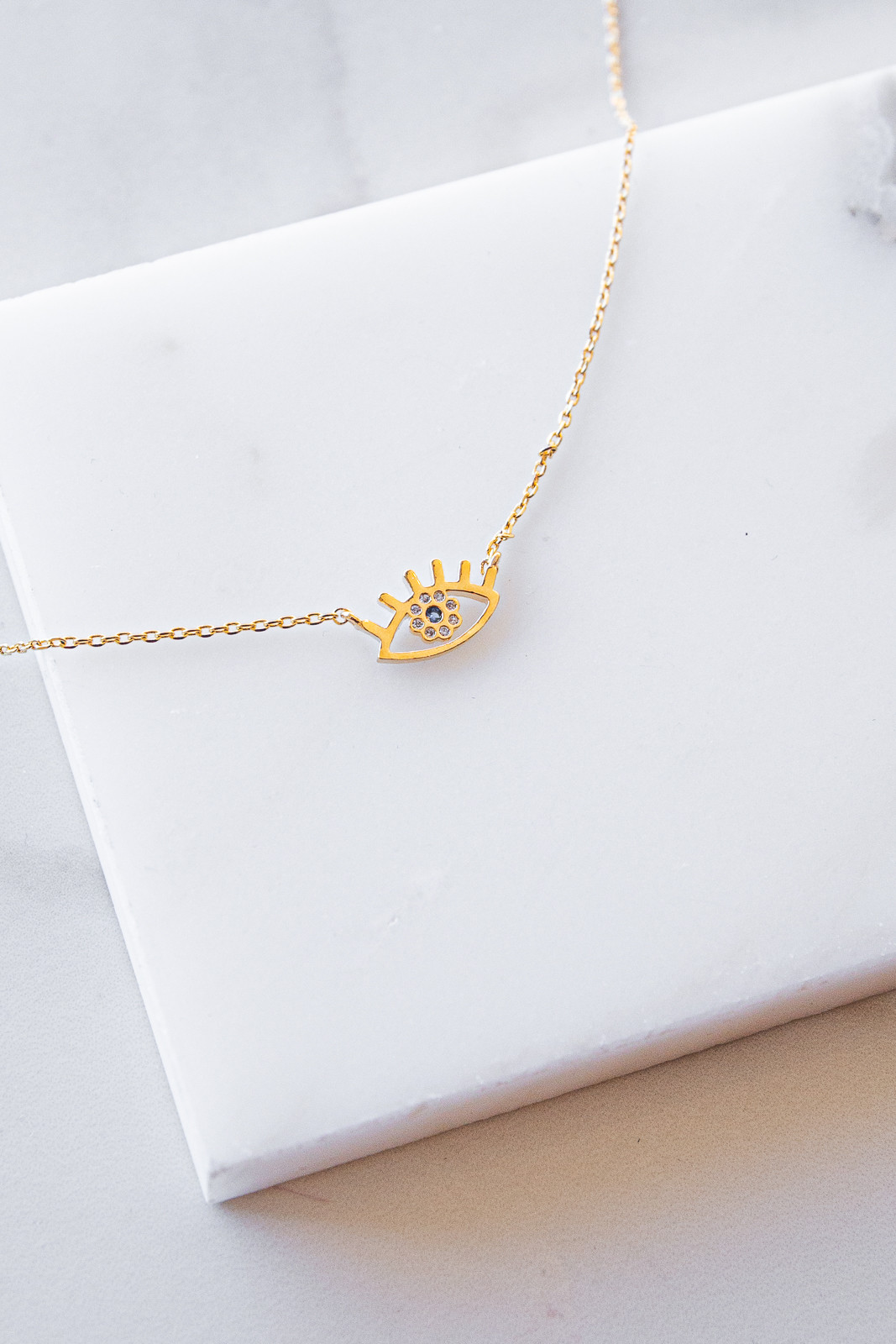 Gold Dainty Chain Necklace with Eye Charm