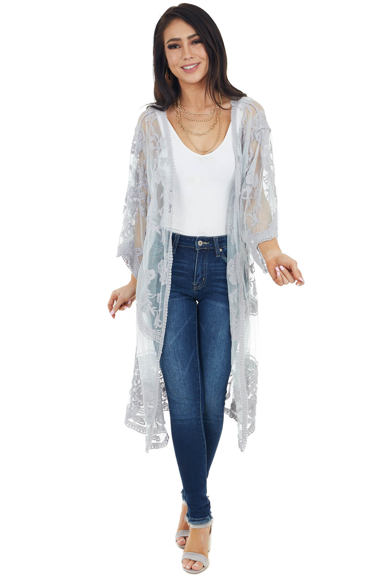 Dove Grey Crochet Knit Floral Kimono with Short Sleeves