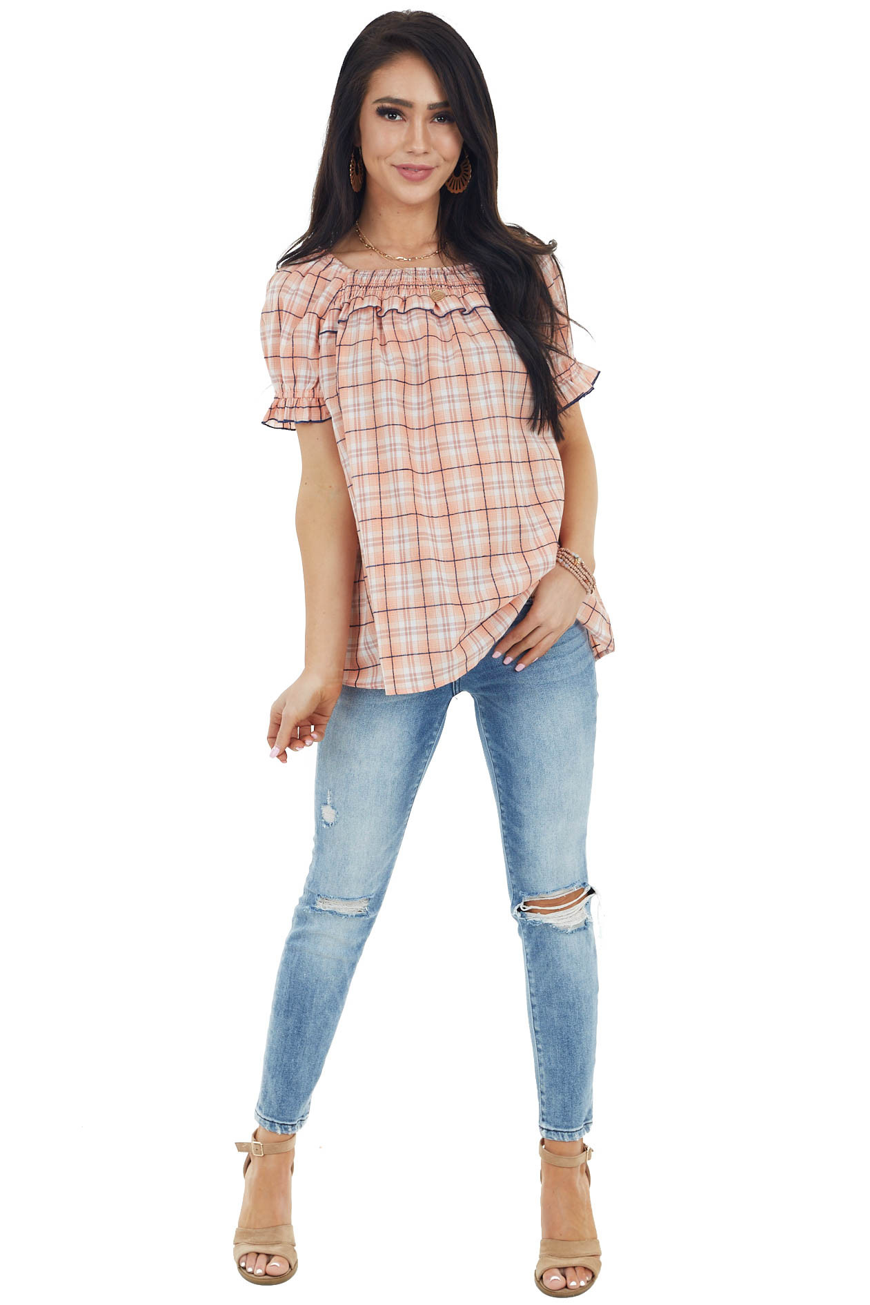 Salmon Plaid Short Sleeve Blouse with Smocked Ruffle Detail