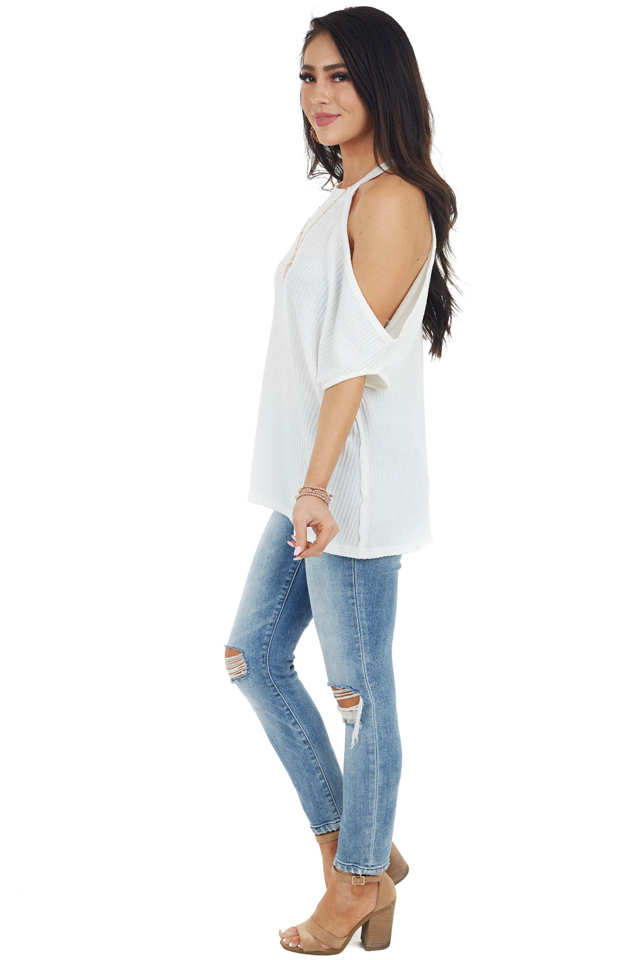 Ivory Sleeveless Asymmetrical Knit Top with Cold Shoulder